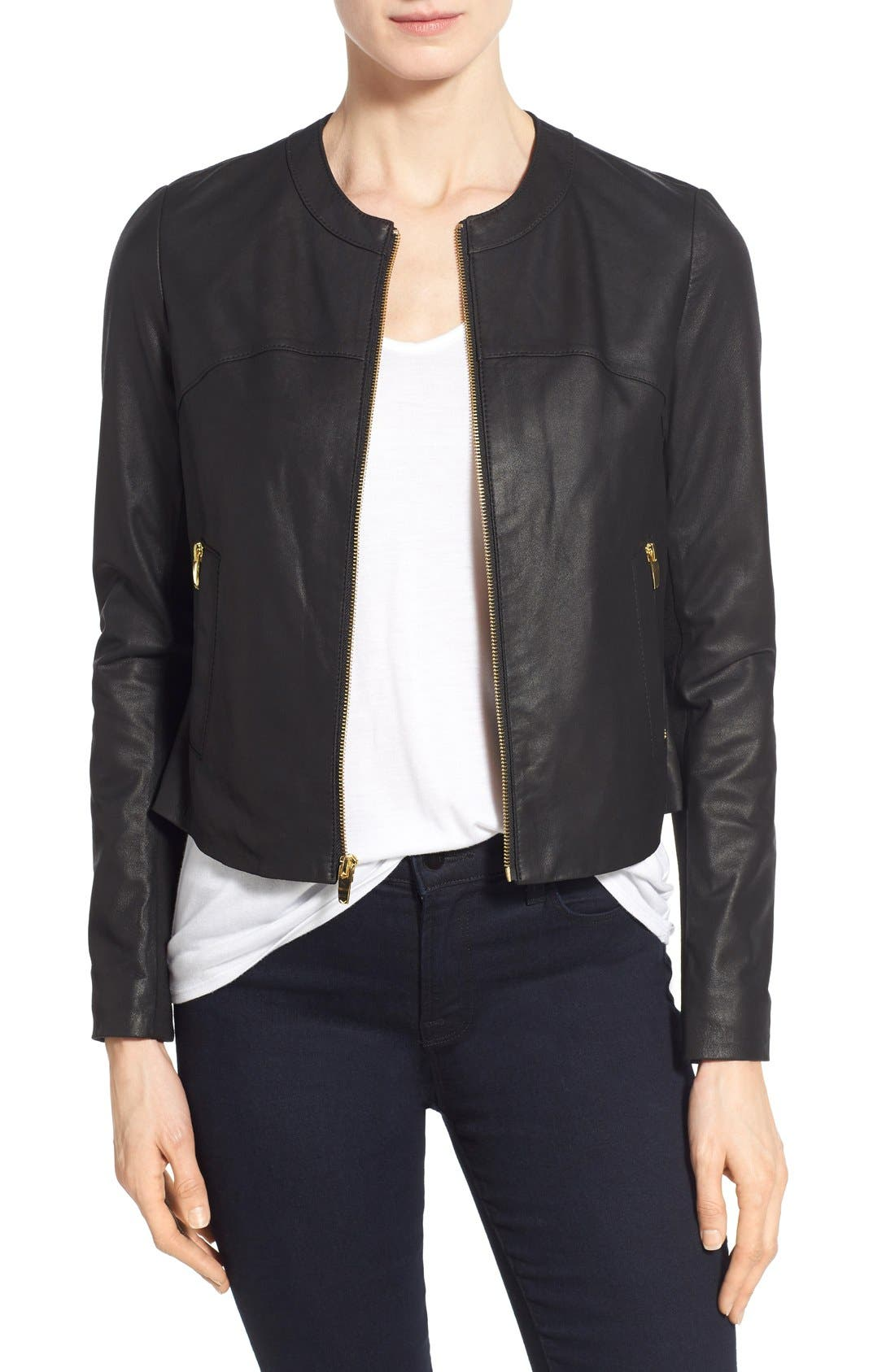 Lambskin Leather & Knit Zip Front Collarless Jacket,                         Main,                         color, Black