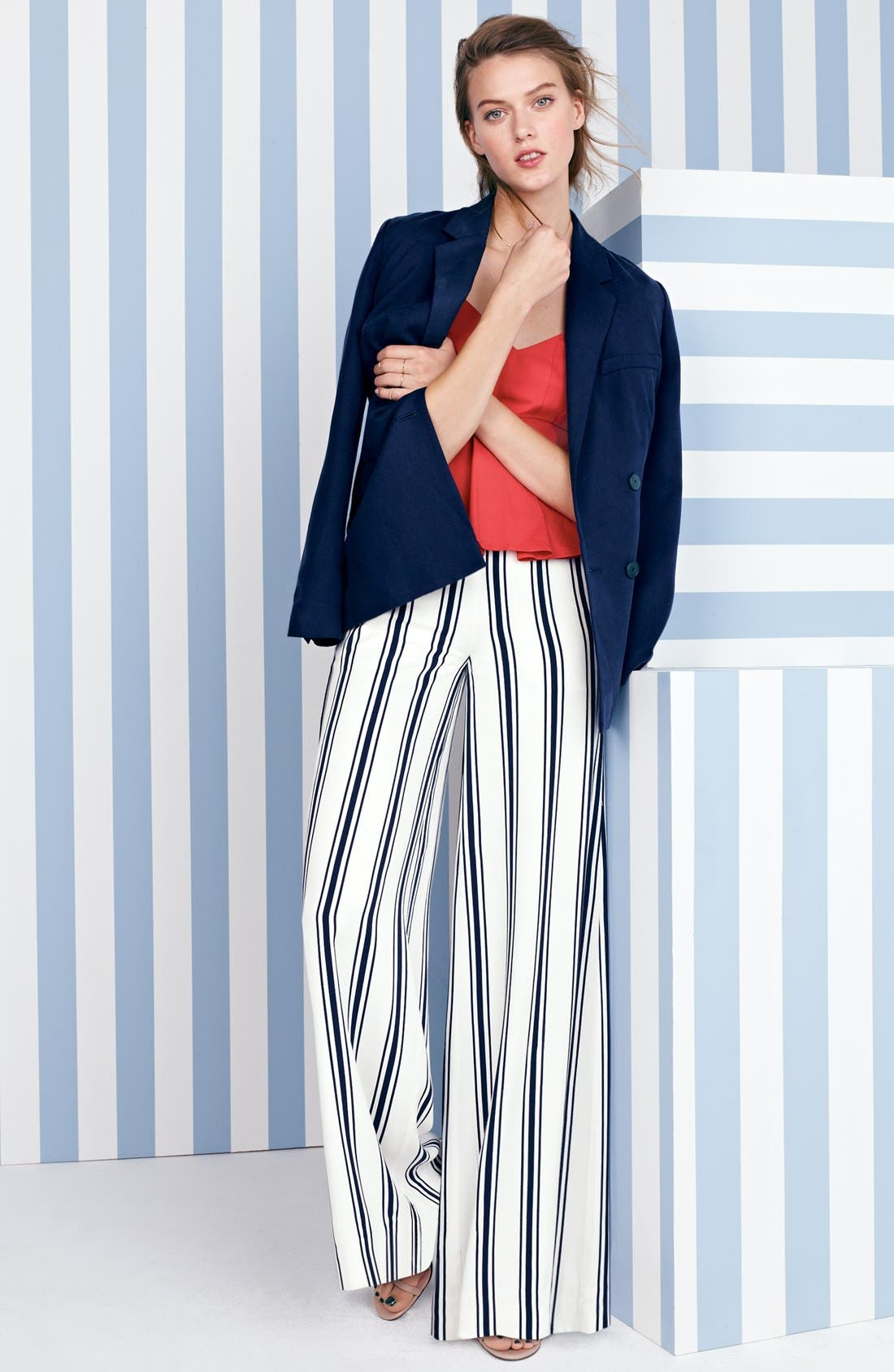 Belted Double Breasted Blazer,                             Alternate thumbnail 6, color,