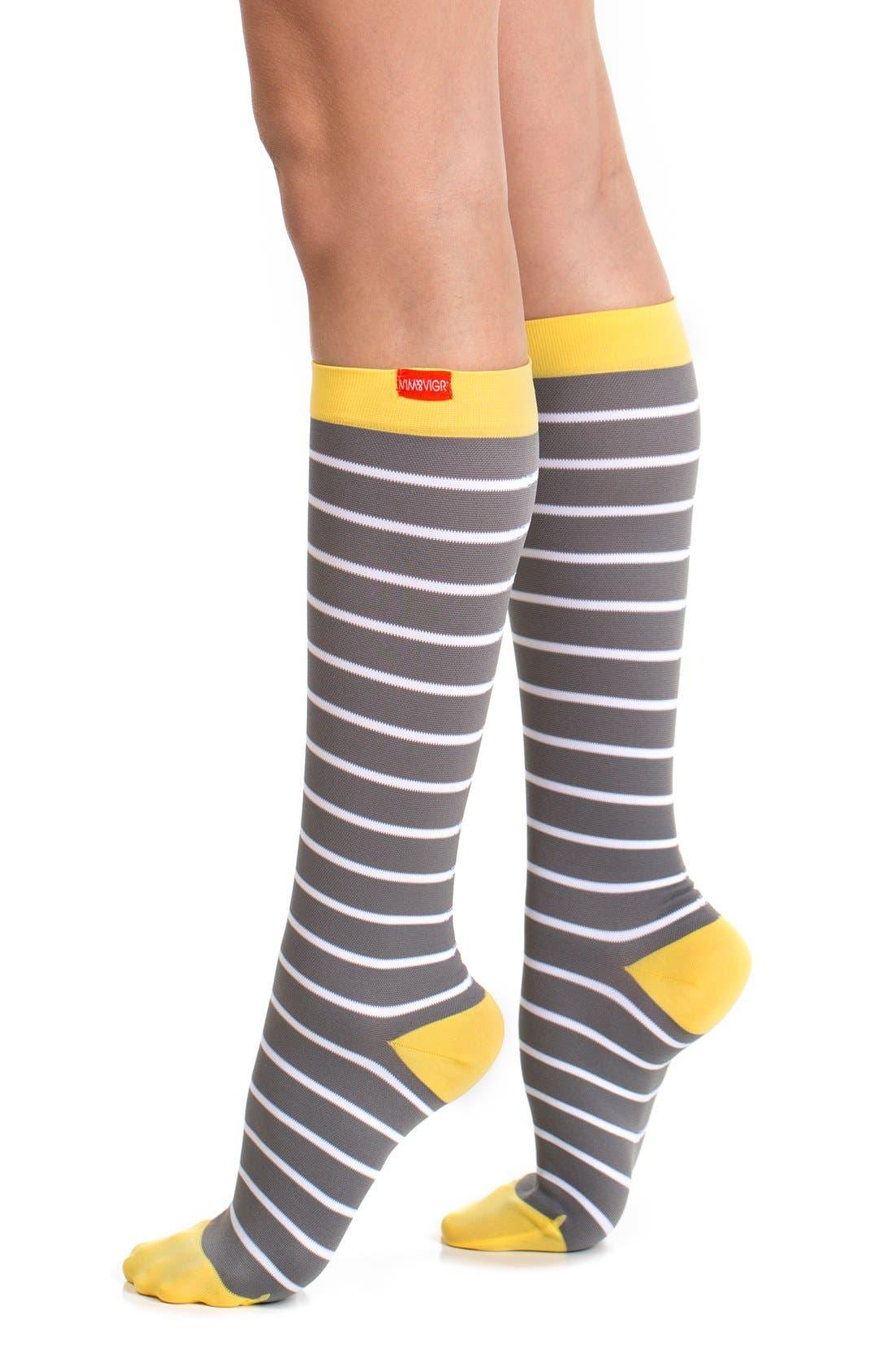 VIM & VIGR Nautical Stripe Graduated Compression Trouser Socks