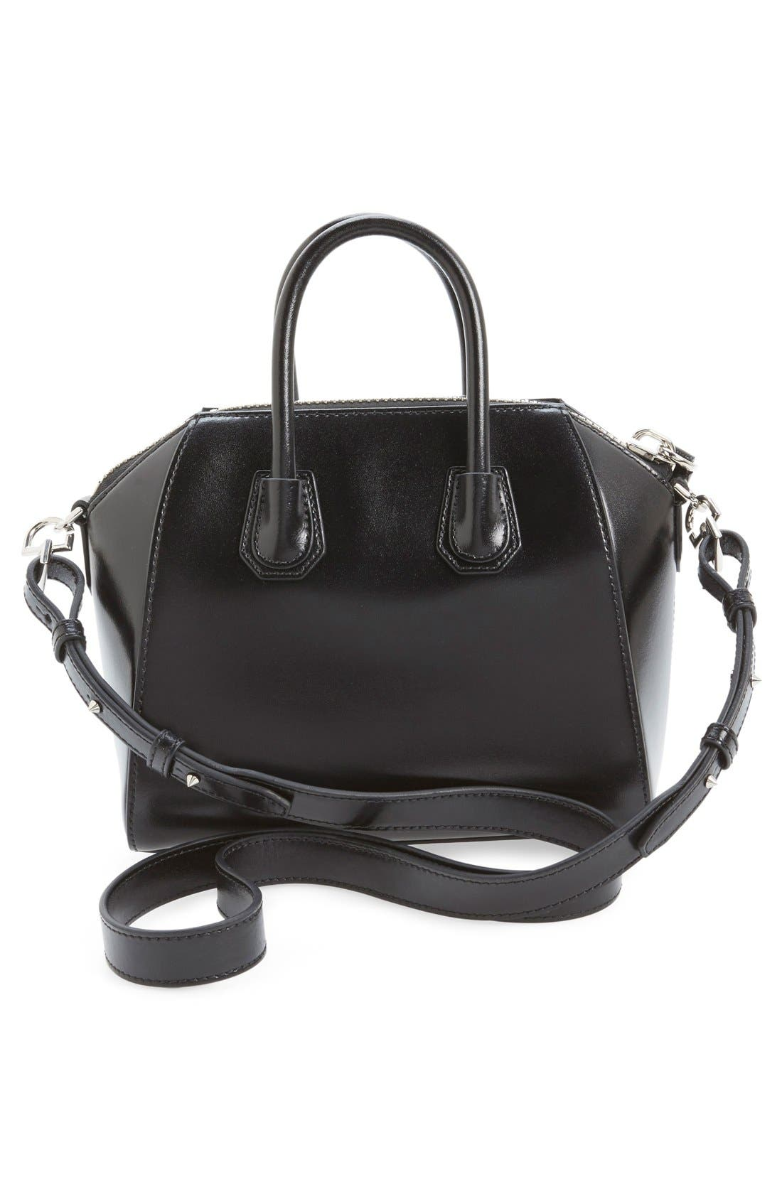 'Mini Antigona' Box Leather Satchel,                             Alternate thumbnail 3, color,                             Black