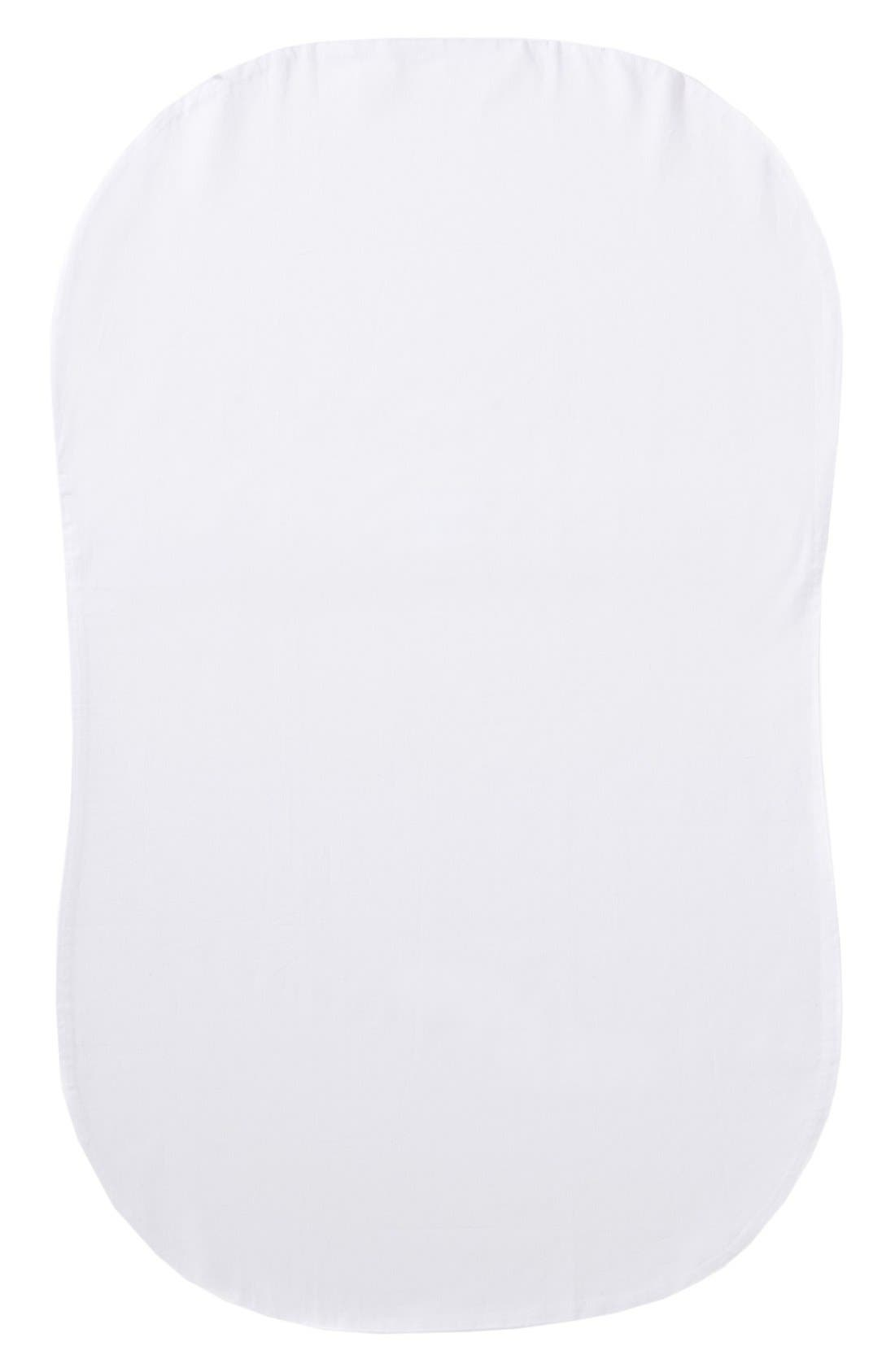 Organic Cotton Fitted Sheet for Halo Innovations Bassinest Swivel Sleeper,                         Main,                         color, White