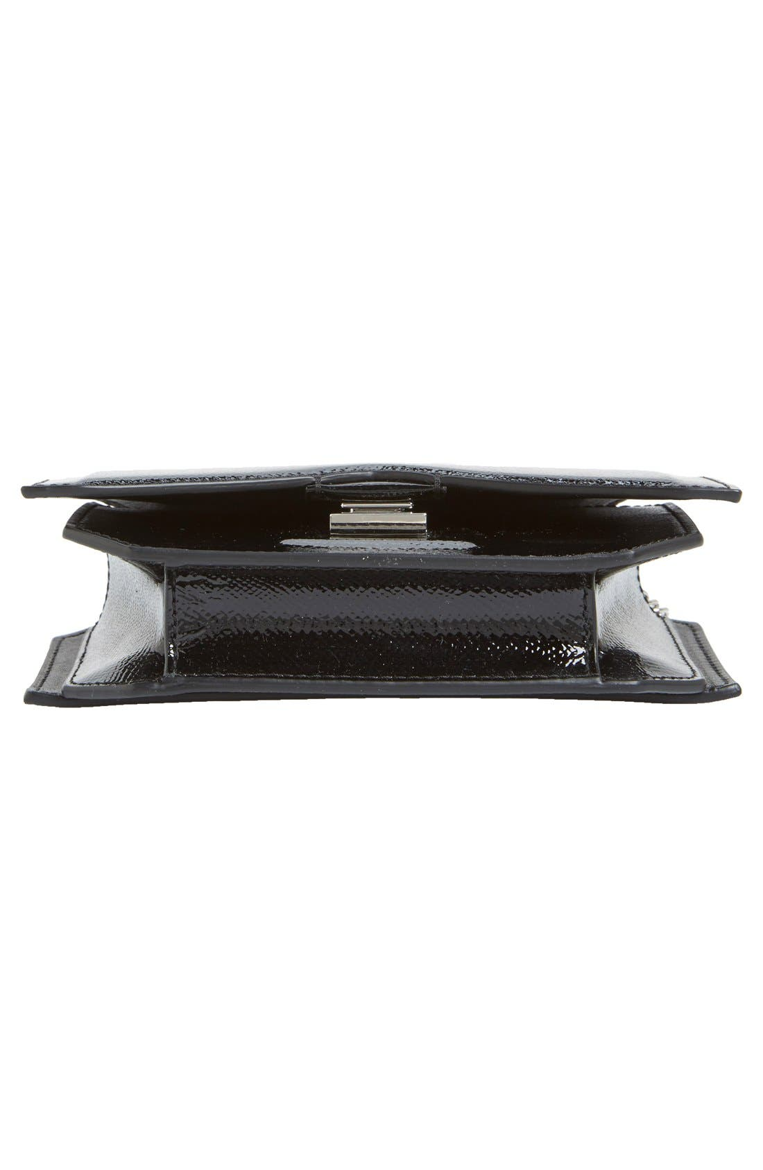 'Bow Cut' Patent Leather Wallet on a Chain,                             Alternate thumbnail 6, color,                             Black