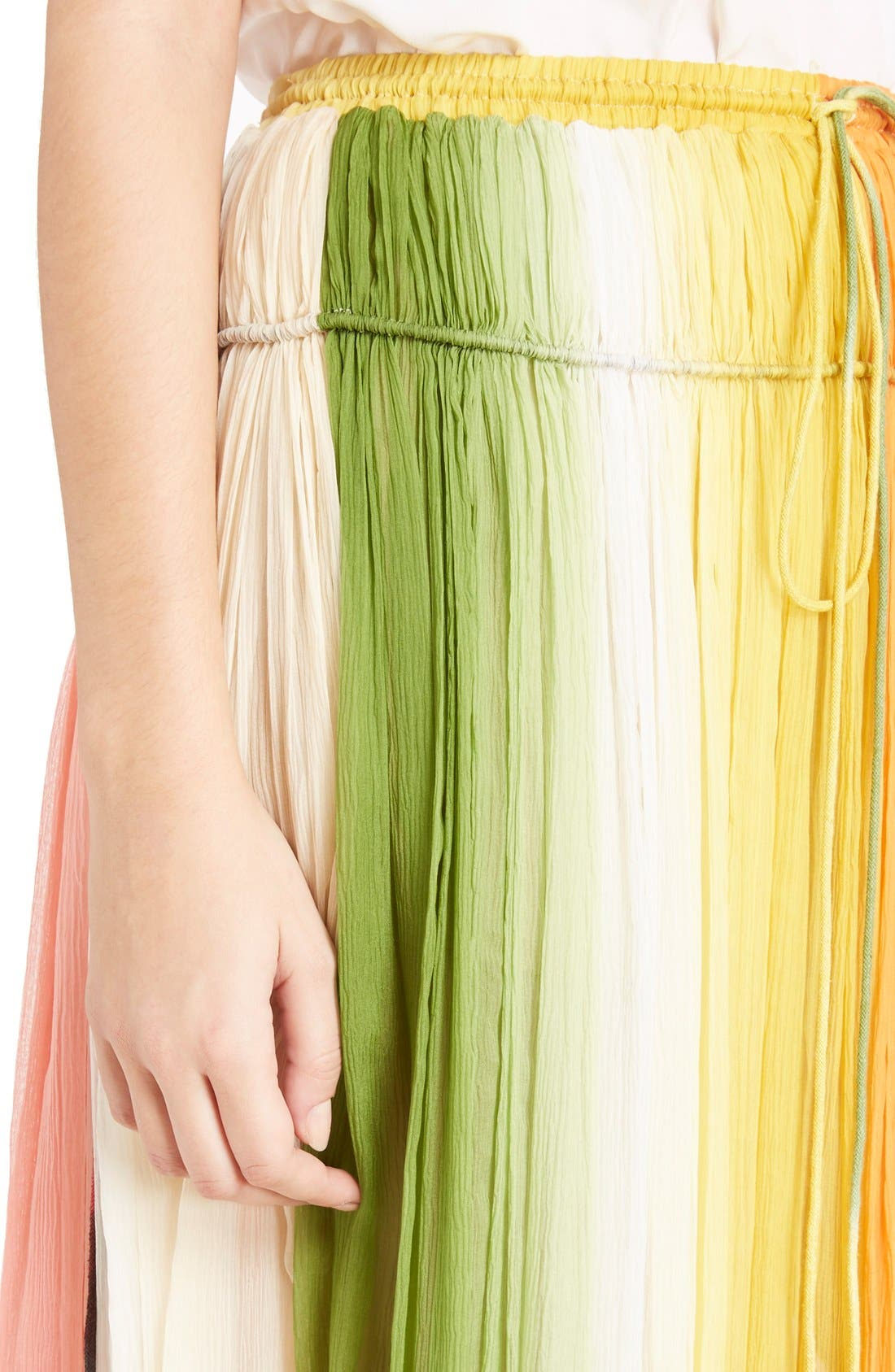 Stripe Pleated Silk Skirt with Tassels,                             Alternate thumbnail 6, color,                             Orange/ Green