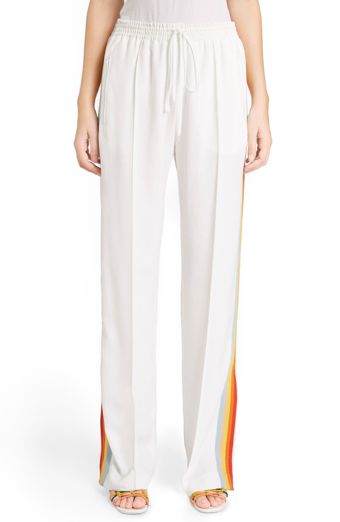 Rainbow Stripe Track Pants,                         Main,                         color, White/ Rainbow