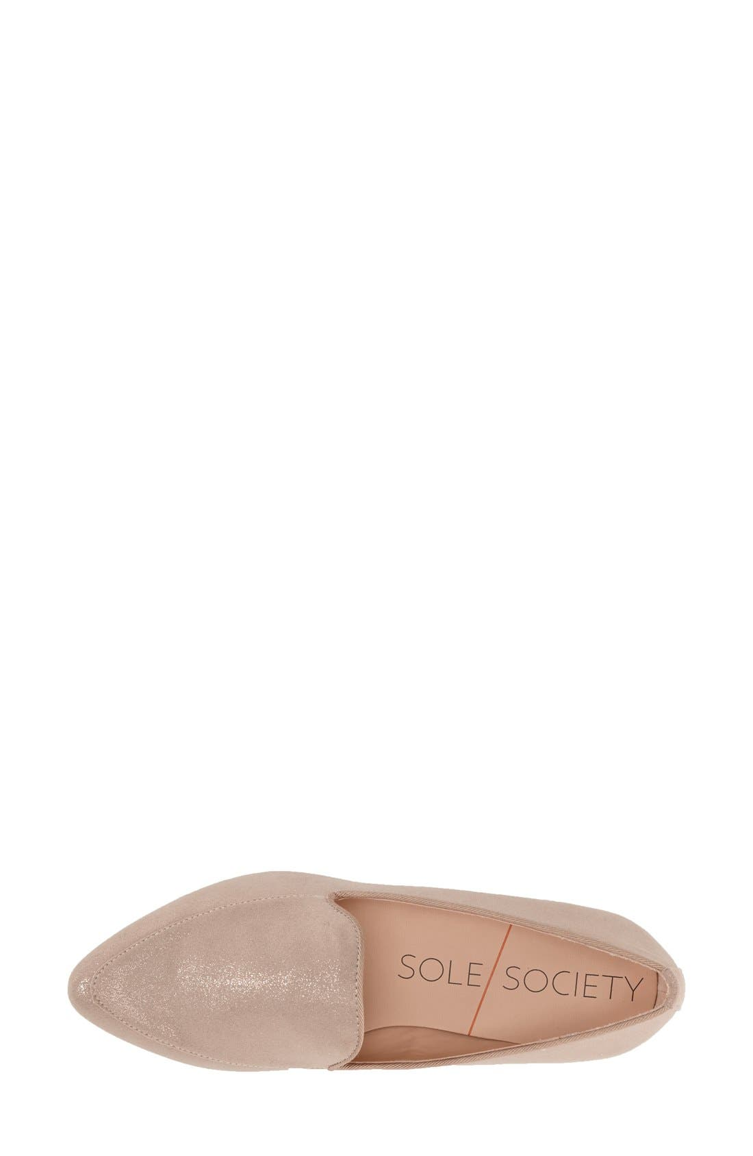 'Sean' Pointy Toe Loafer,                             Alternate thumbnail 3, color,                             Nude Metallic