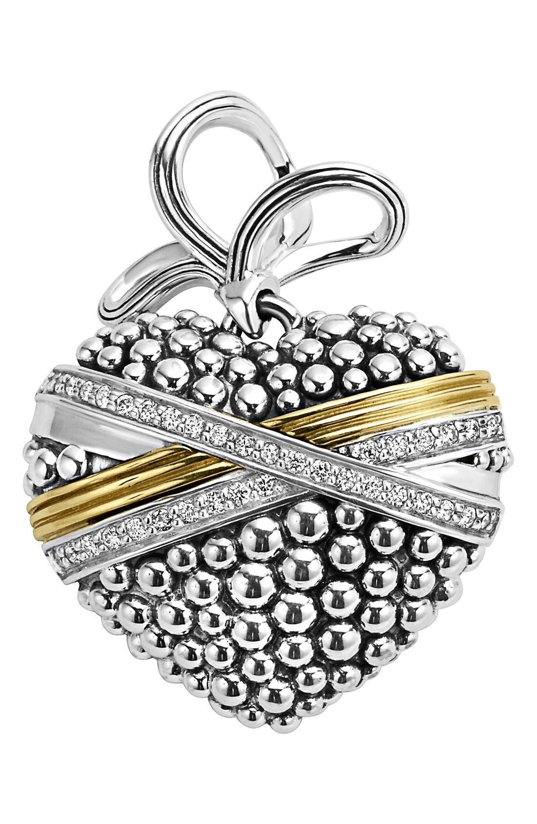 'Diamond Caviar' Diamond Heart Pendant,                         Main,                         color, Sterling Silver