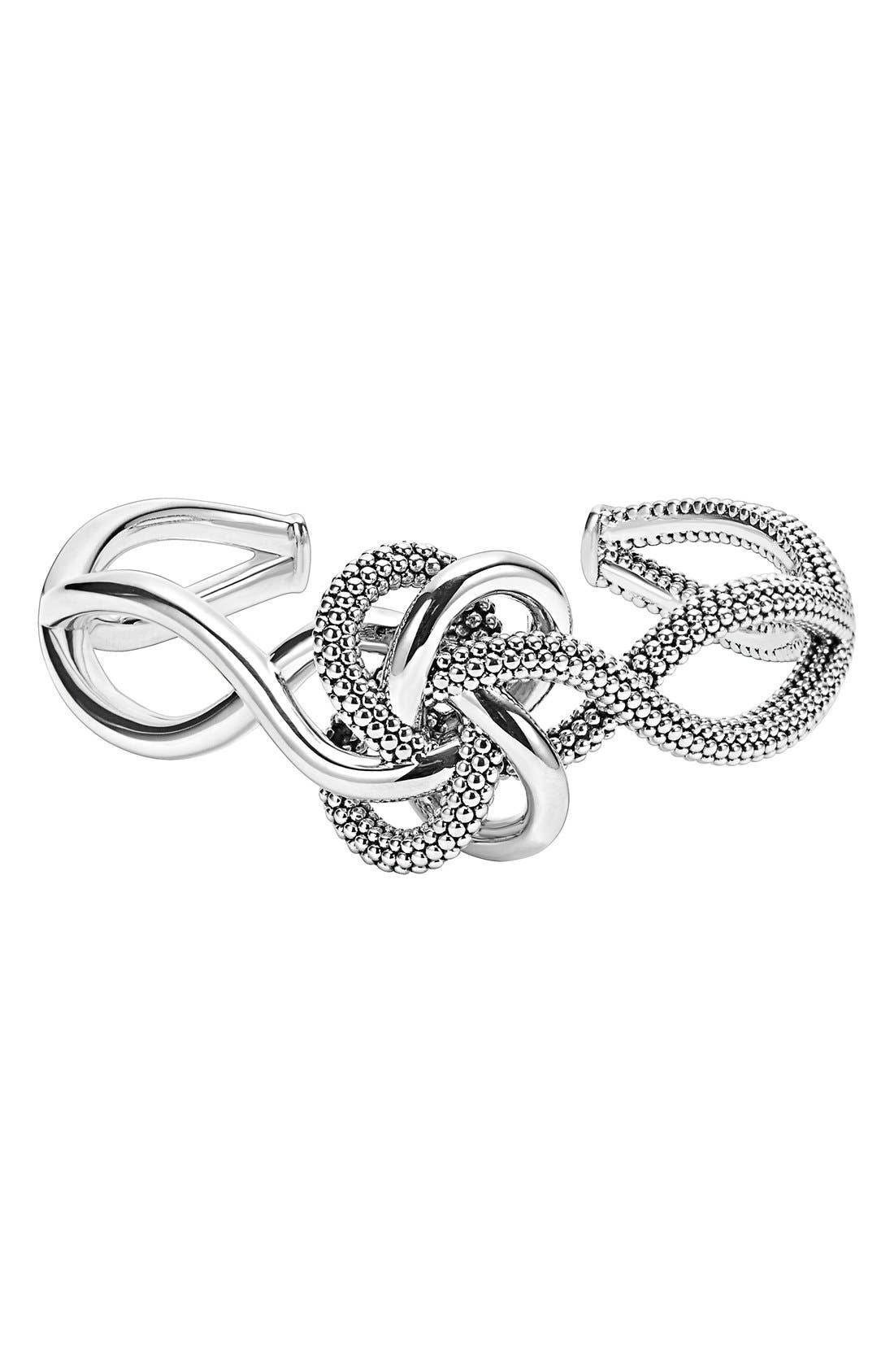 'Love Knot' Cuff,                         Main,                         color, Sterling Silver
