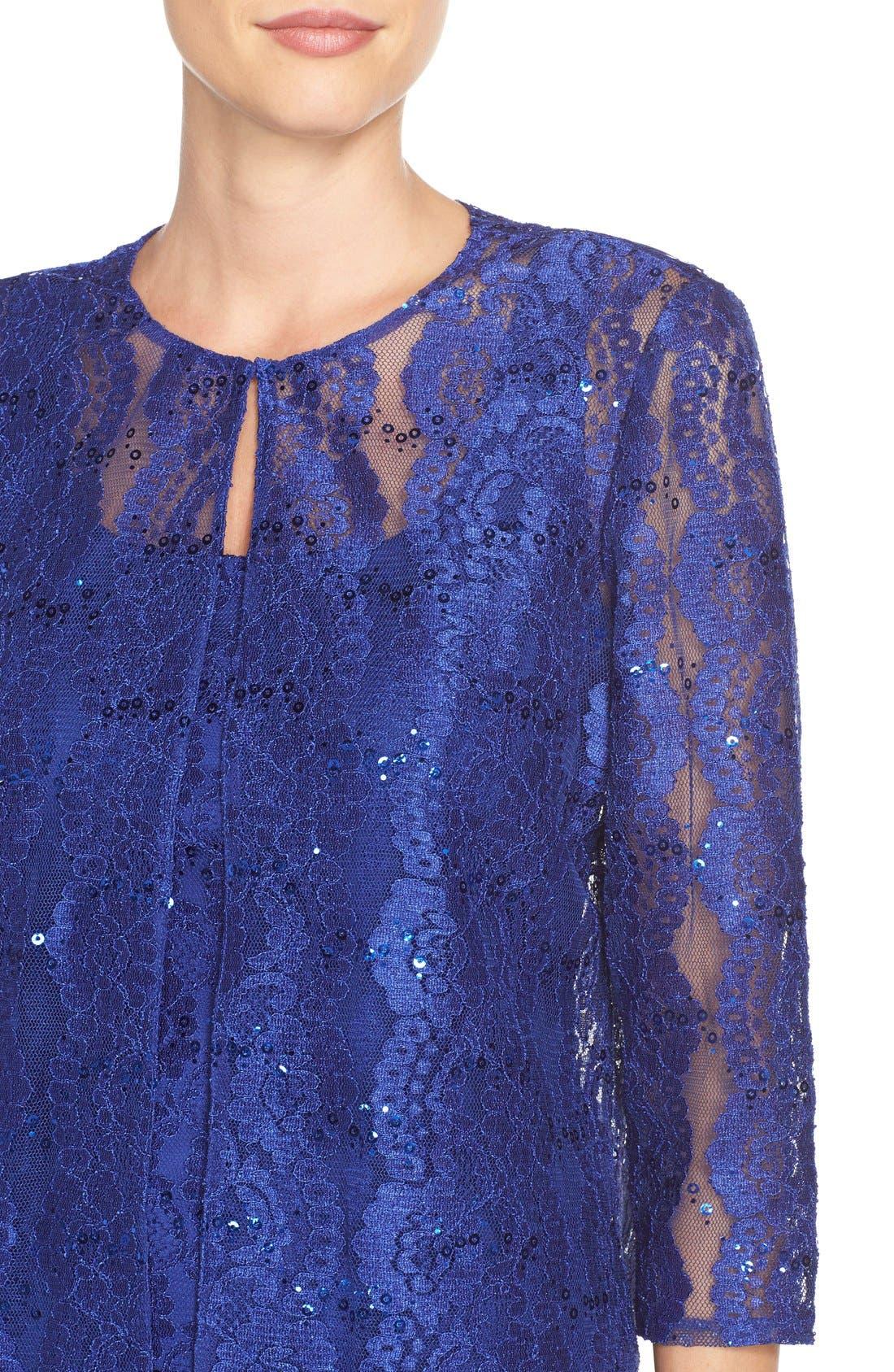 Alternate Image 5  - Alex Evenings Embellished Lace Fit & Flare Dress with Jacket