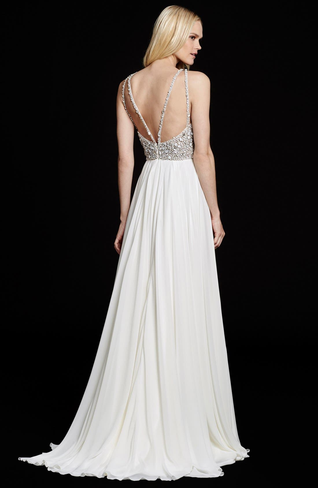 Ellie Embellished Chiffon A-Line Gown,                             Alternate thumbnail 2, color,                             Ivory