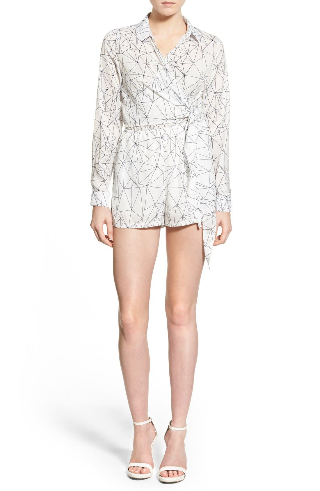 Alternate Image 1 Selected - Missguided Geo Print Wrap Front Romper