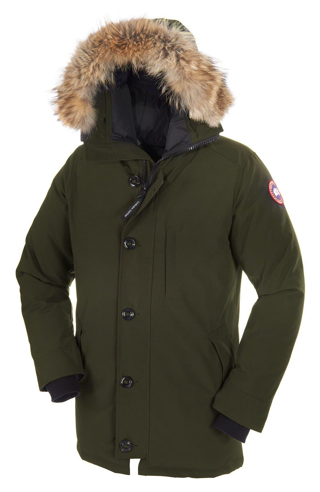 'Chateau' Slim Fit Genuine Coyote Fur Trim Jacket,                             Alternate thumbnail 4, color,                             Military Green