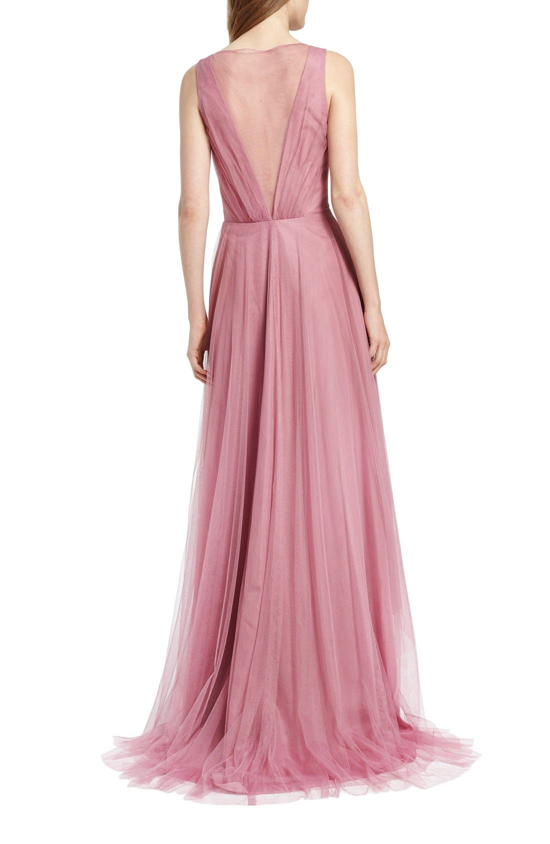 Pleat Tulle V-Neck High/Low Gown,                             Alternate thumbnail 2, color,                             Cerise