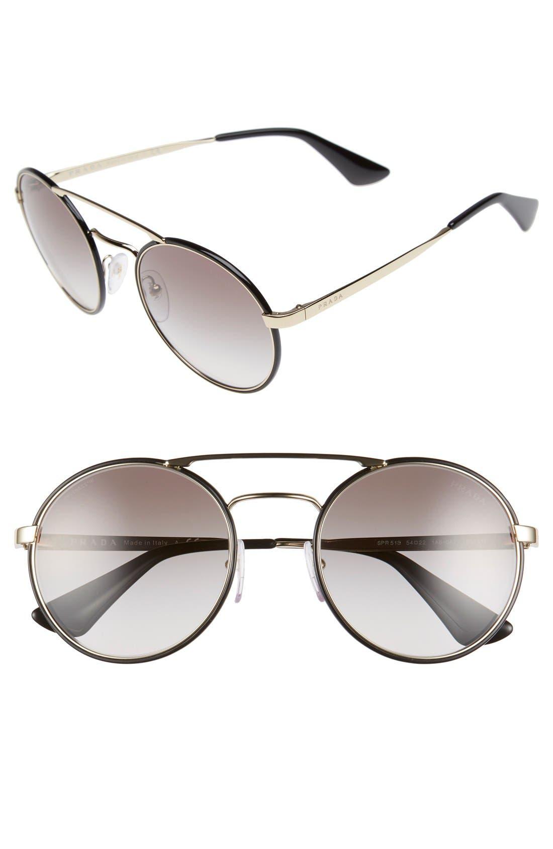 'Cinemà' 54mm Round Sunglasses,                             Main thumbnail 1, color,                             Black