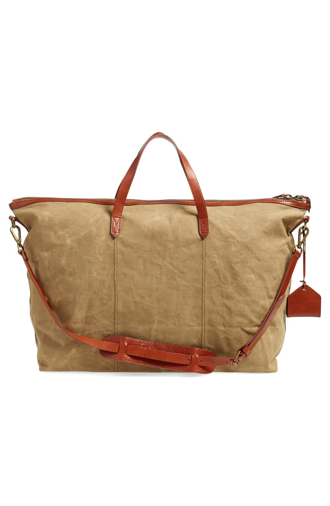 The Transport Canvas Weekend Bag,                             Alternate thumbnail 3, color,                             Truffle