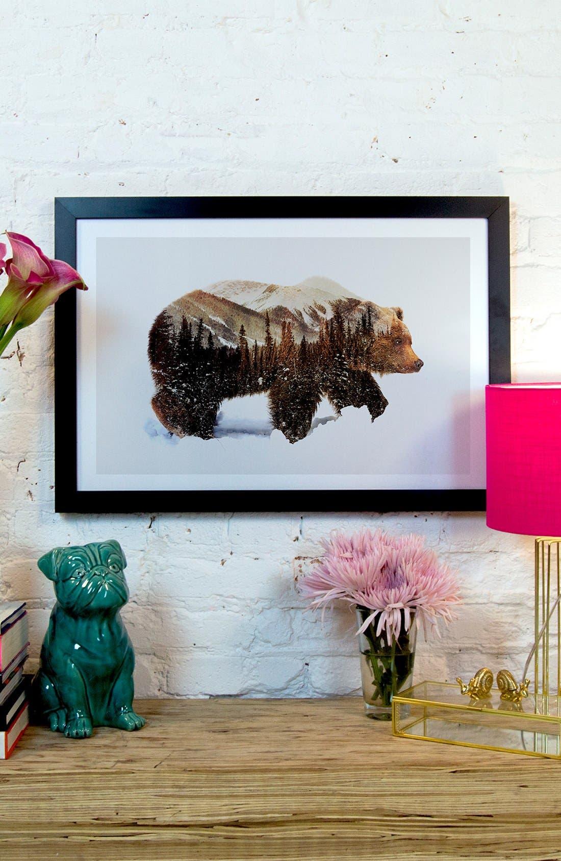 Alternate Image 2  - iCanvas 'Grizzly Bear' Giclée Print Framed Canvas Art