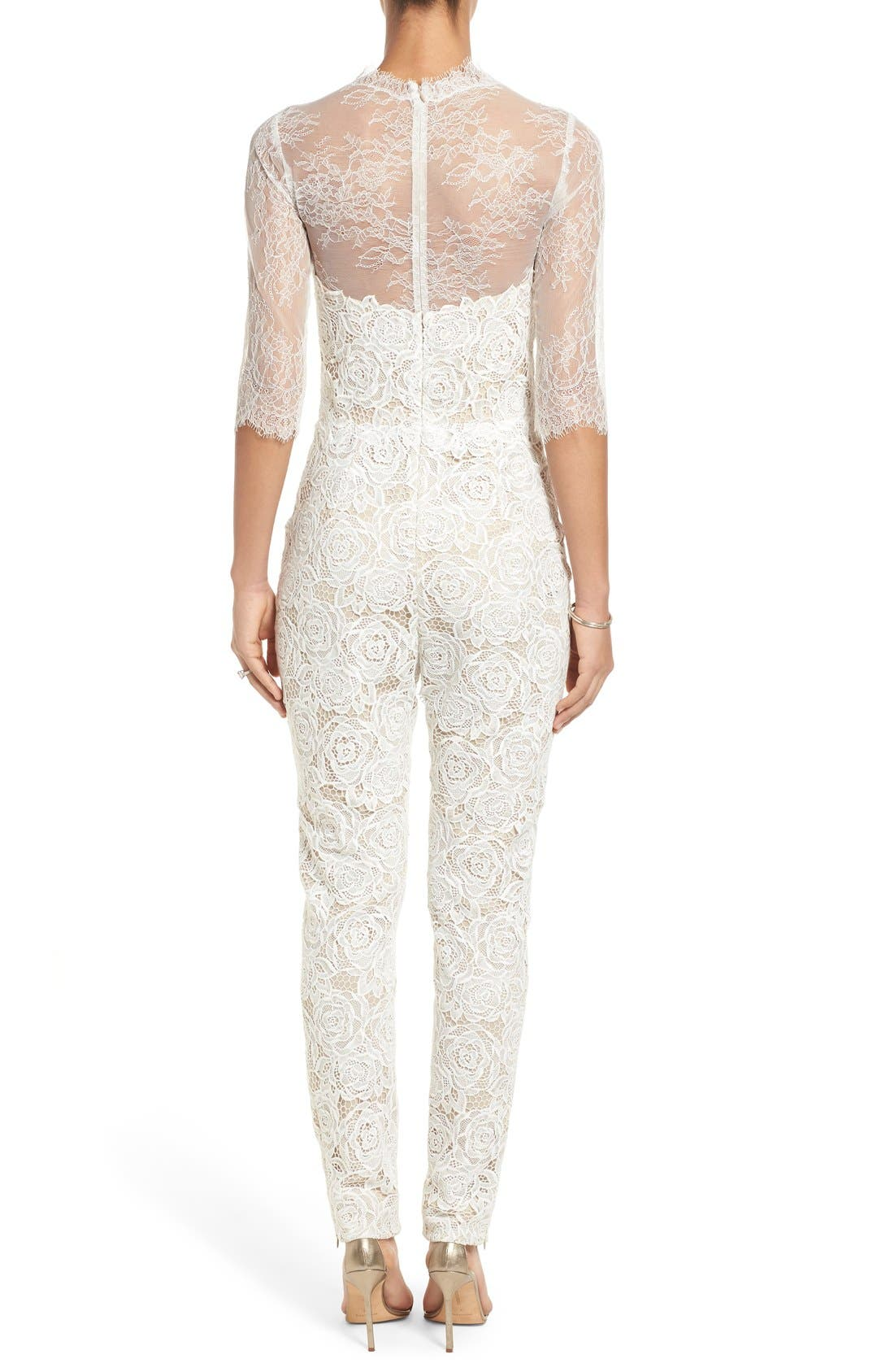 Monique Lhuillier Ready to Wed Guipure Lace Jumpsuit,                             Alternate thumbnail 2, color,                             Silk White/ Nude