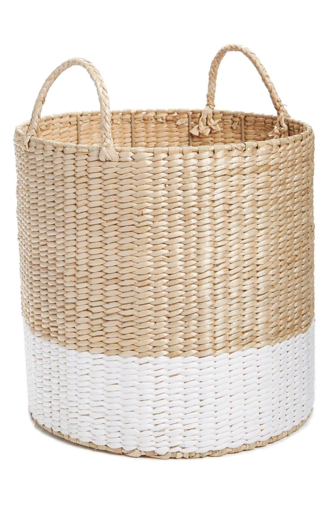 Straw Basket,                             Main thumbnail 1, color,                             Natural/ White