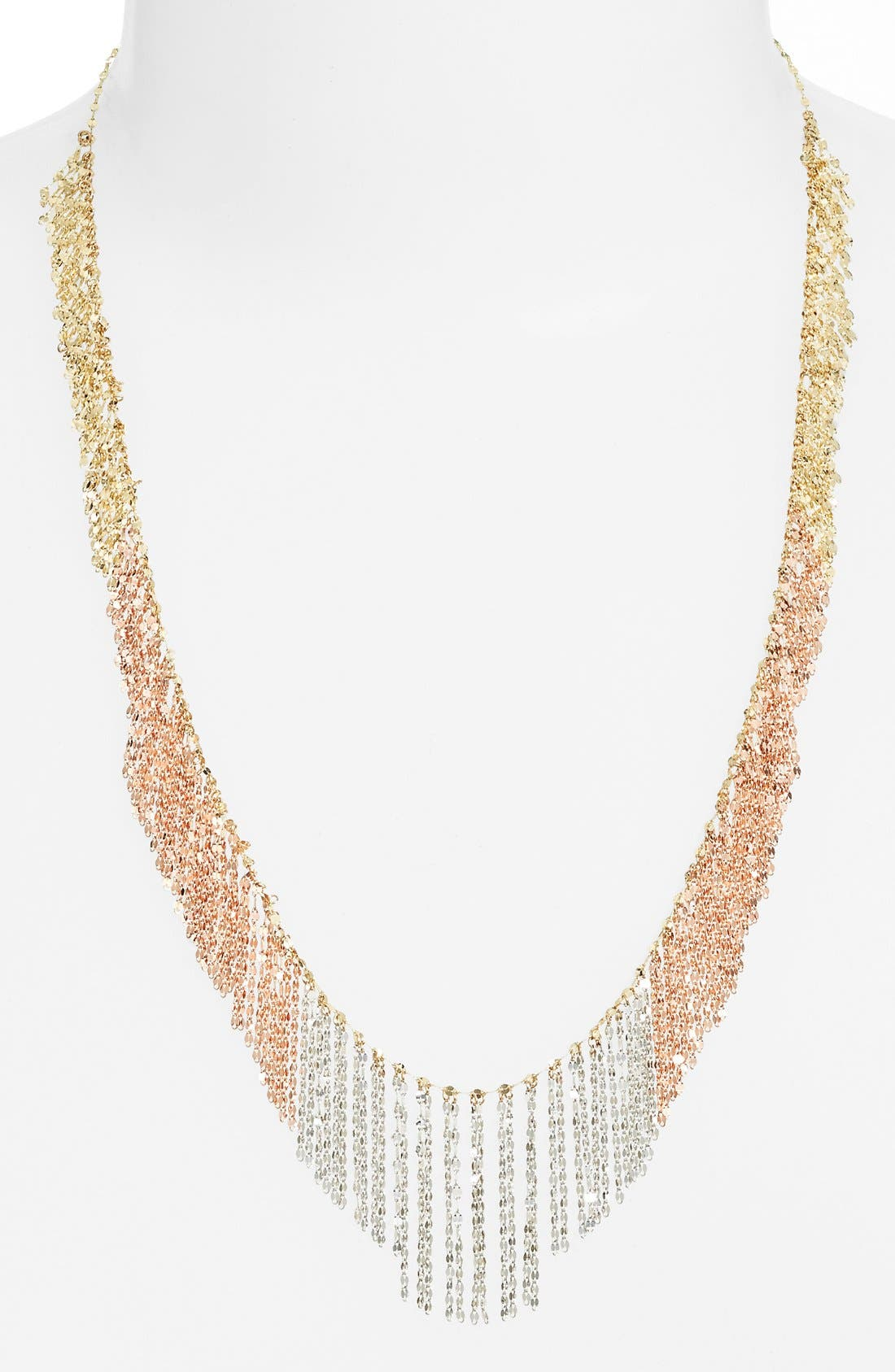 'Nude' Tri-Color Fringe Necklace,                             Main thumbnail 1, color,                             Yellow/ Rose/ White Gold