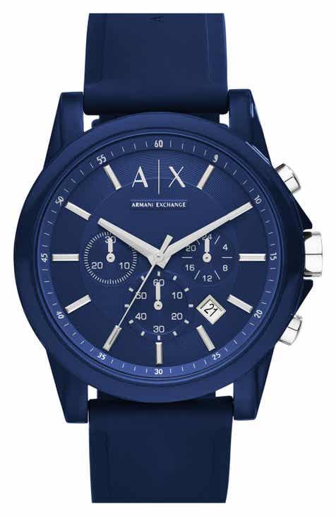 e4fe9cf9ad9 AX Armani Exchange Chronograph Silicone Strap Watch, 44mm