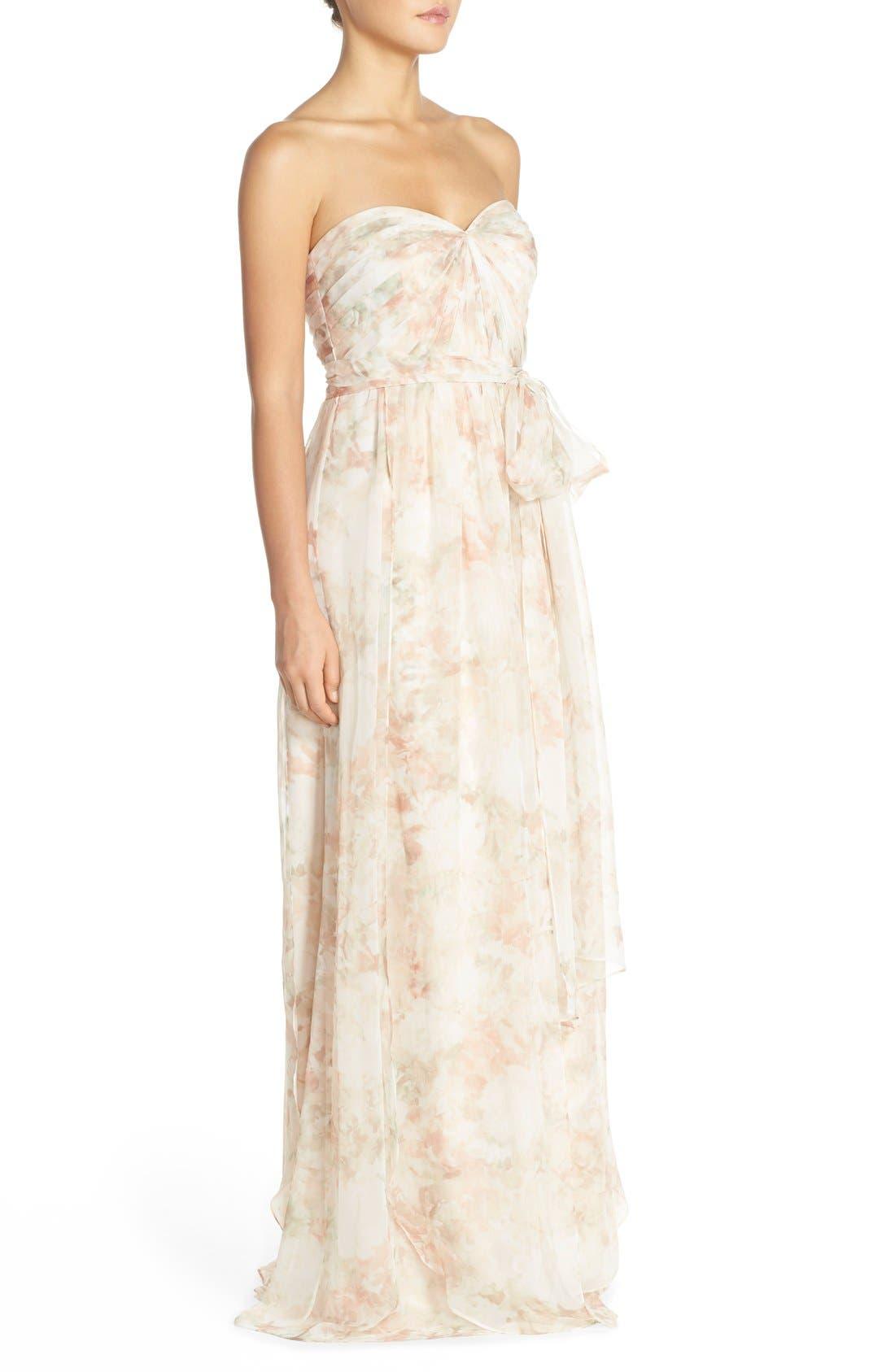 Nyla Floral Print Convertible Strapless Chiffon Gown,                             Alternate thumbnail 3, color,                             Blush Multi