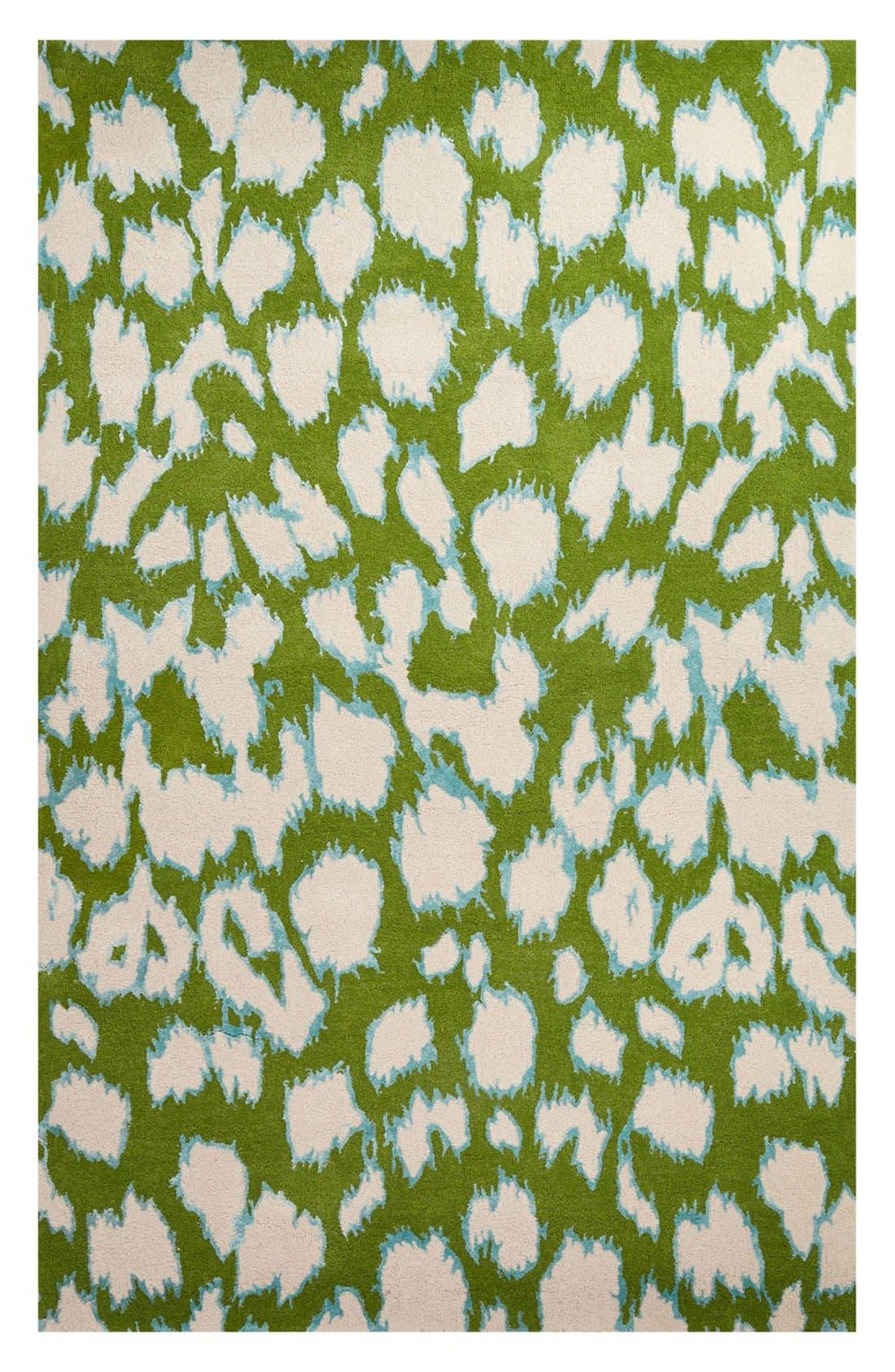 'gramercy - animal print' wool & silk rug,                         Main,                         color, Green/ Ivory