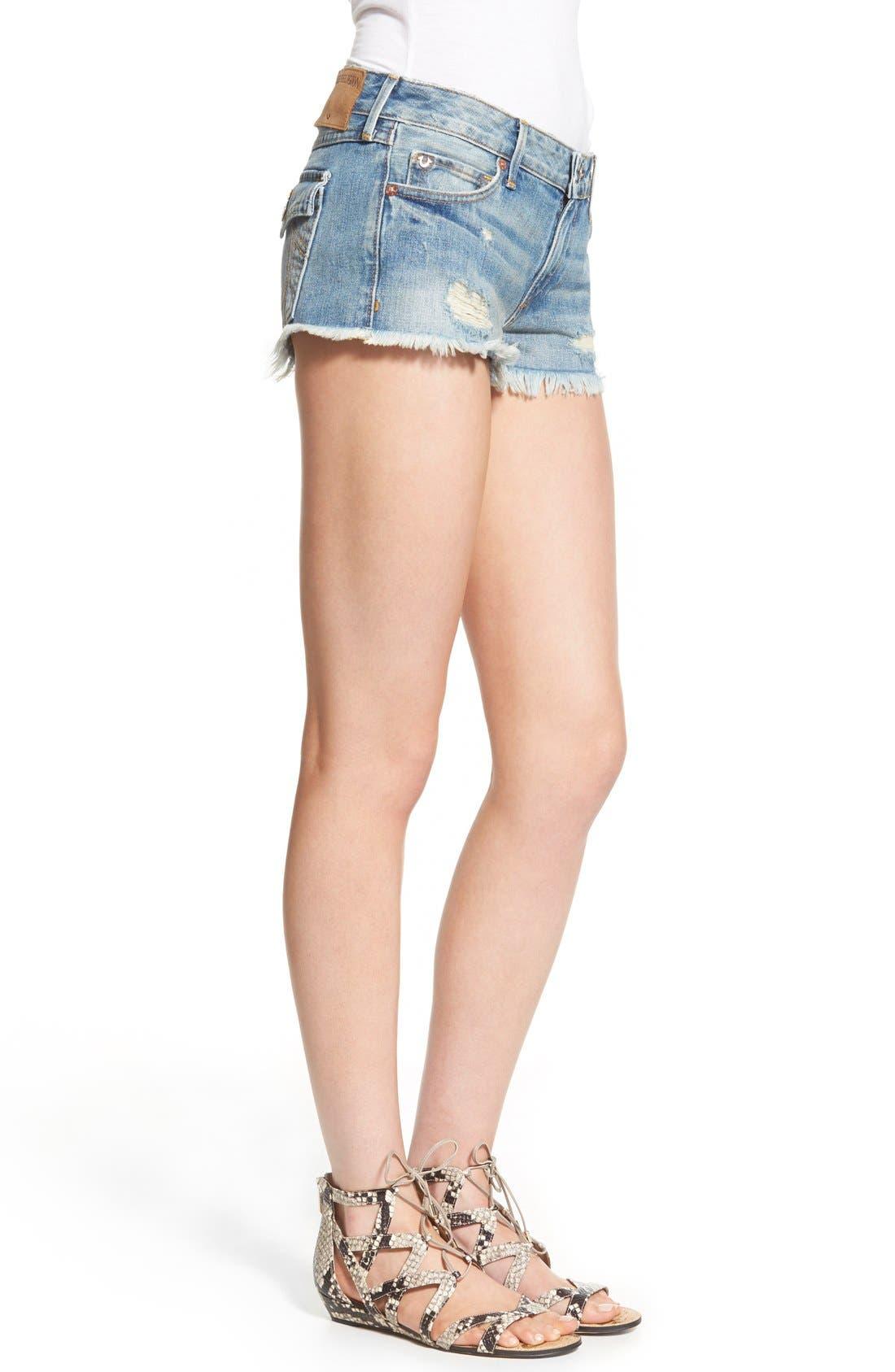 Alternate Image 3  - True Religion Brand Jeans Joey Flap Pocket Cutoff Shorts (Vintage True Destroyed)