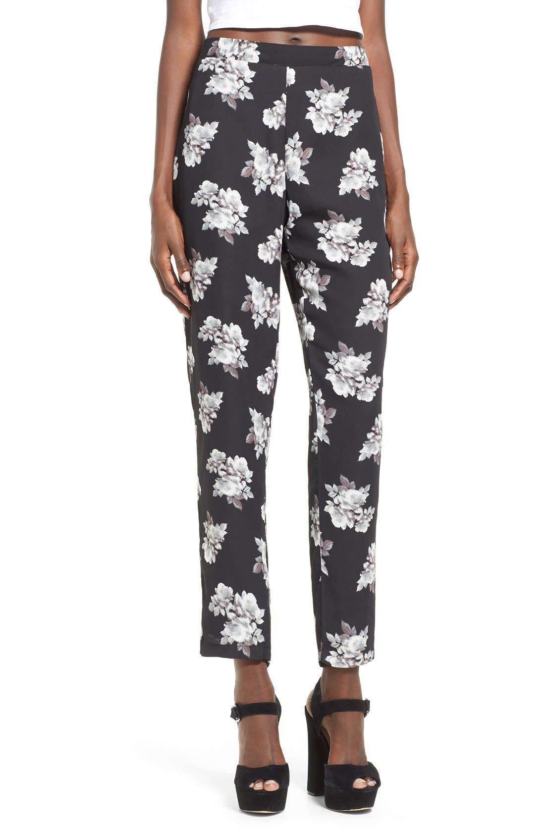 Alternate Image 1 Selected - Leith Floral Print Crop Pants