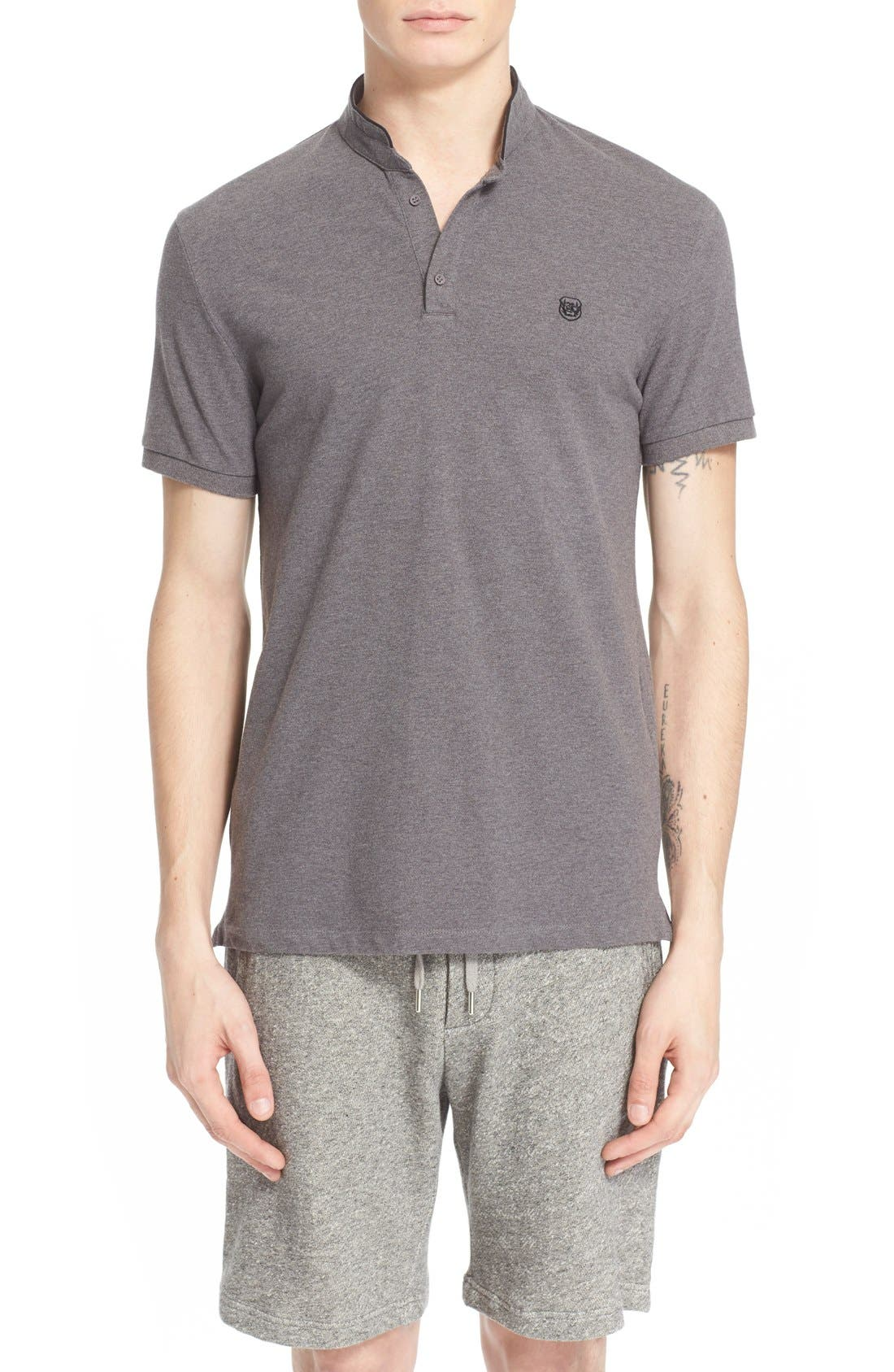 THE KOOPLES SPORT Pipe-Trimmed Band Collar Piqué Polo
