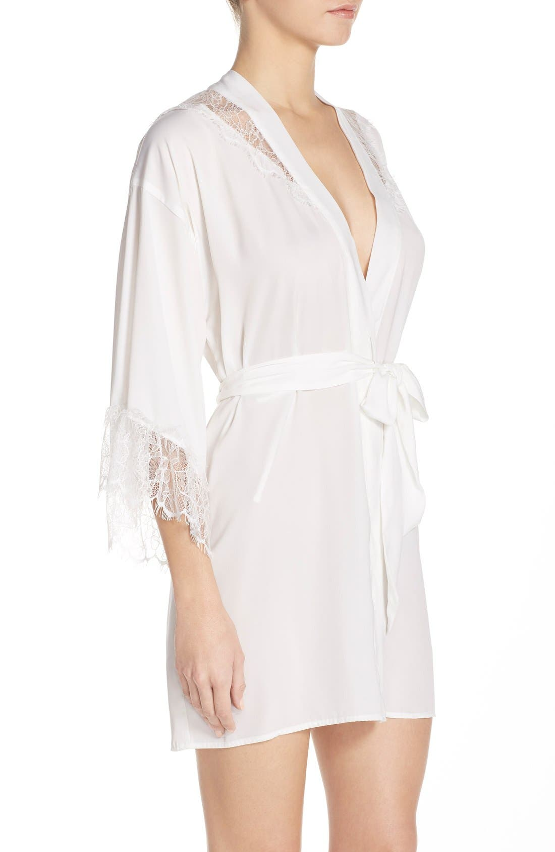Alternate Image 3  - Betsey Johnson Washed Satin Short Robe