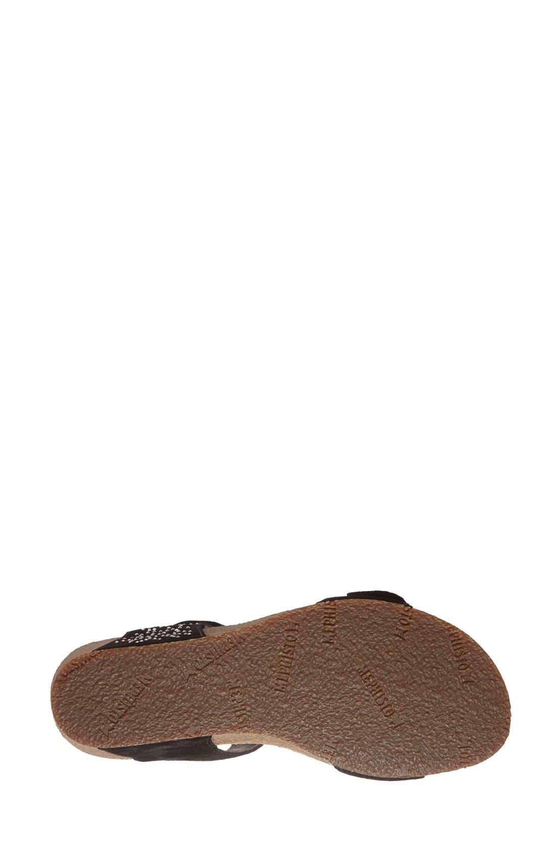 'Marie - Spark' Wedge Sandal,                             Alternate thumbnail 4, color,                             Black Suede