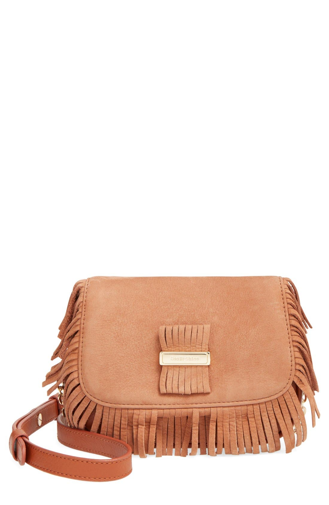 Main Image - See by Chloé 'Medium Paige' Fringe Leather & Suede Clutch