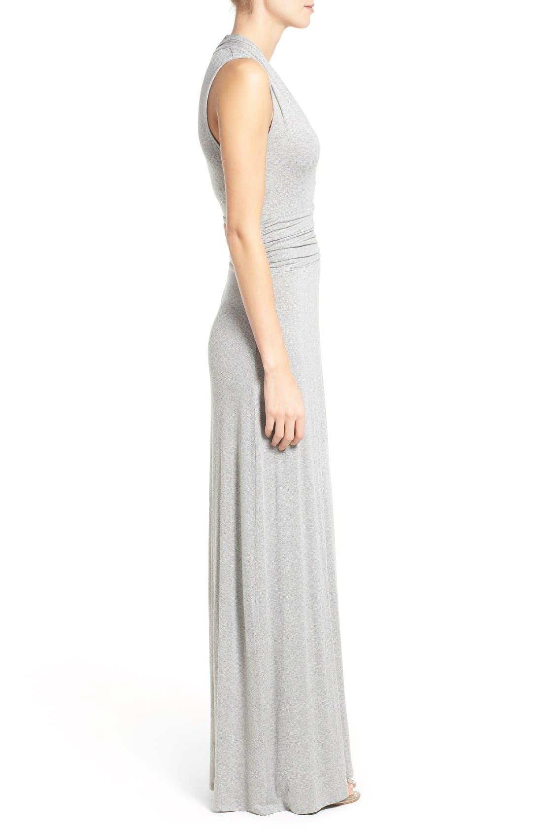 V-Neck Maxi Dress,                             Alternate thumbnail 3, color,                             Light Heather Grey