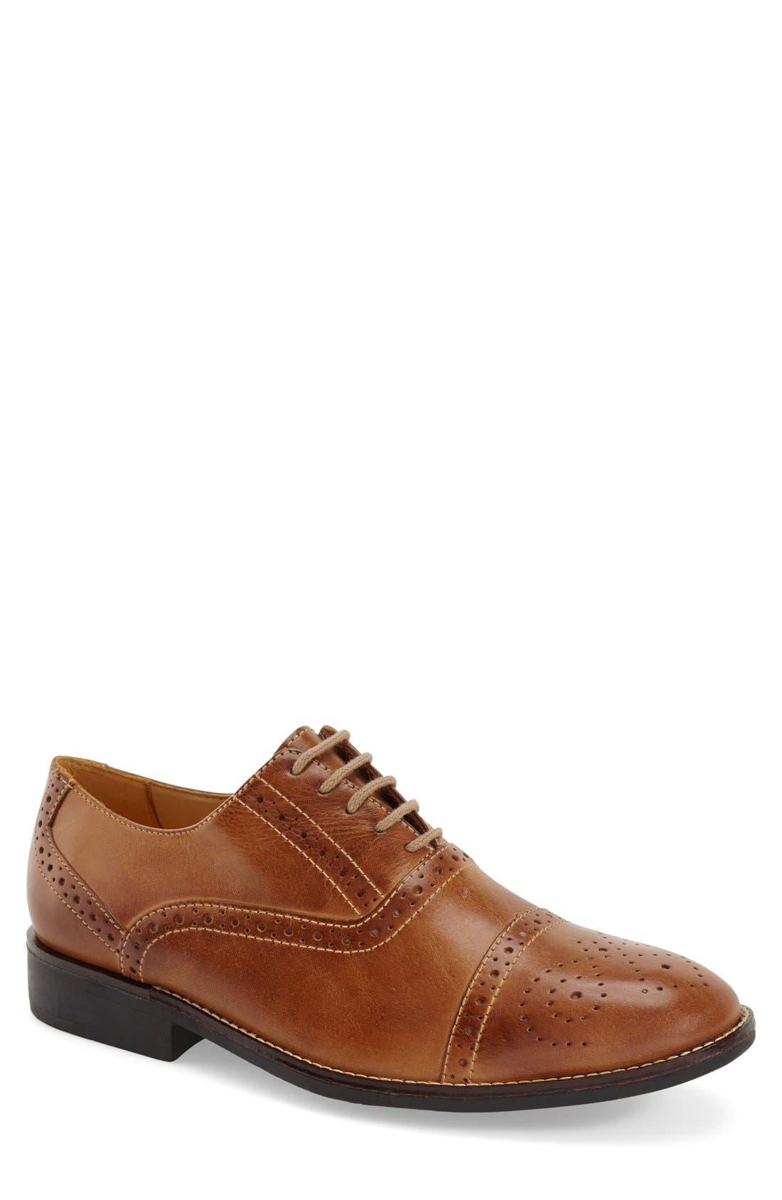'Barrett' Cap Toe Oxford,                             Main thumbnail 1, color,                             Tan