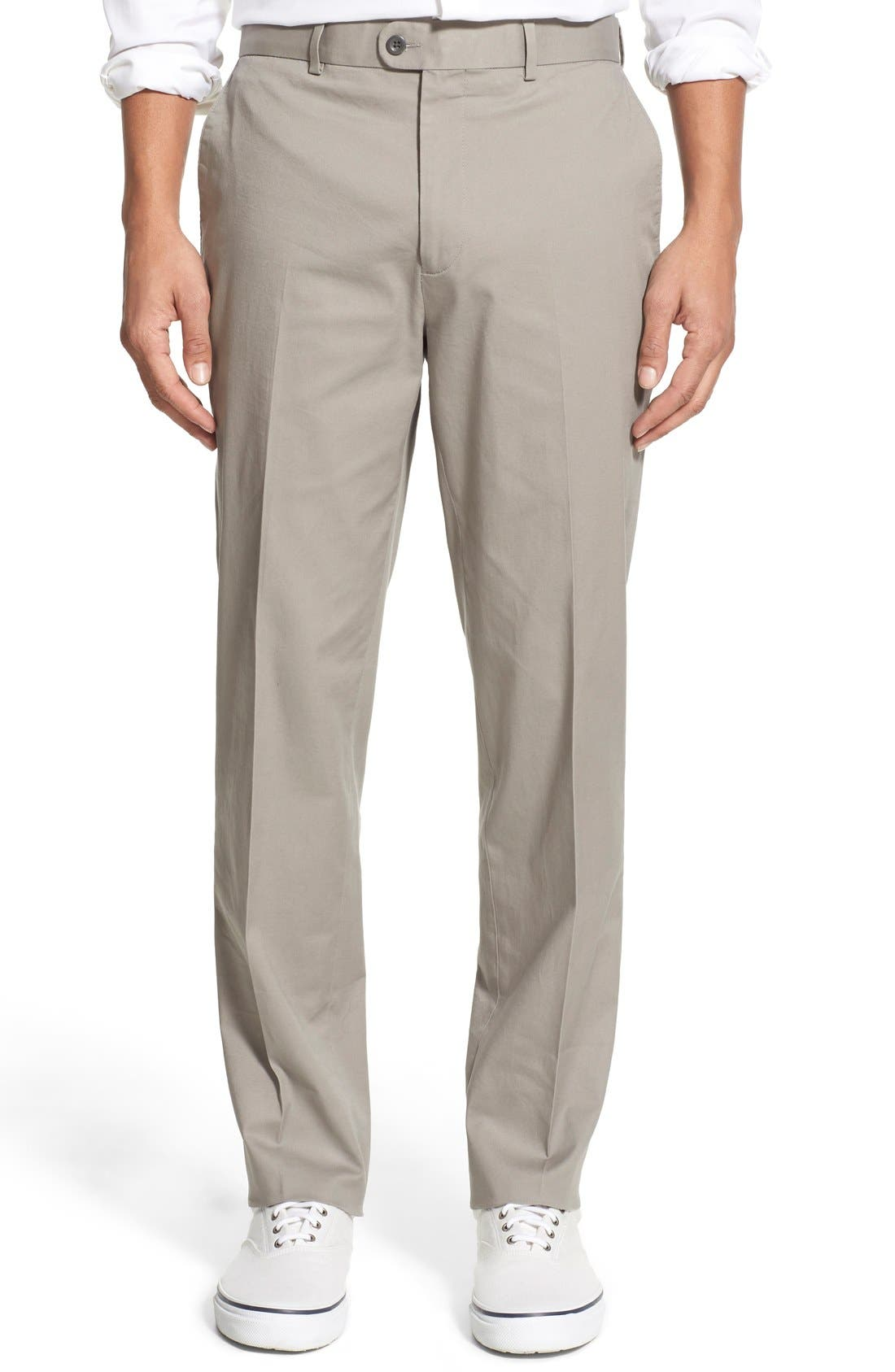 Washed Trim Fit Stretch Cotton Trousers,                         Main,                         color, Medium Grey