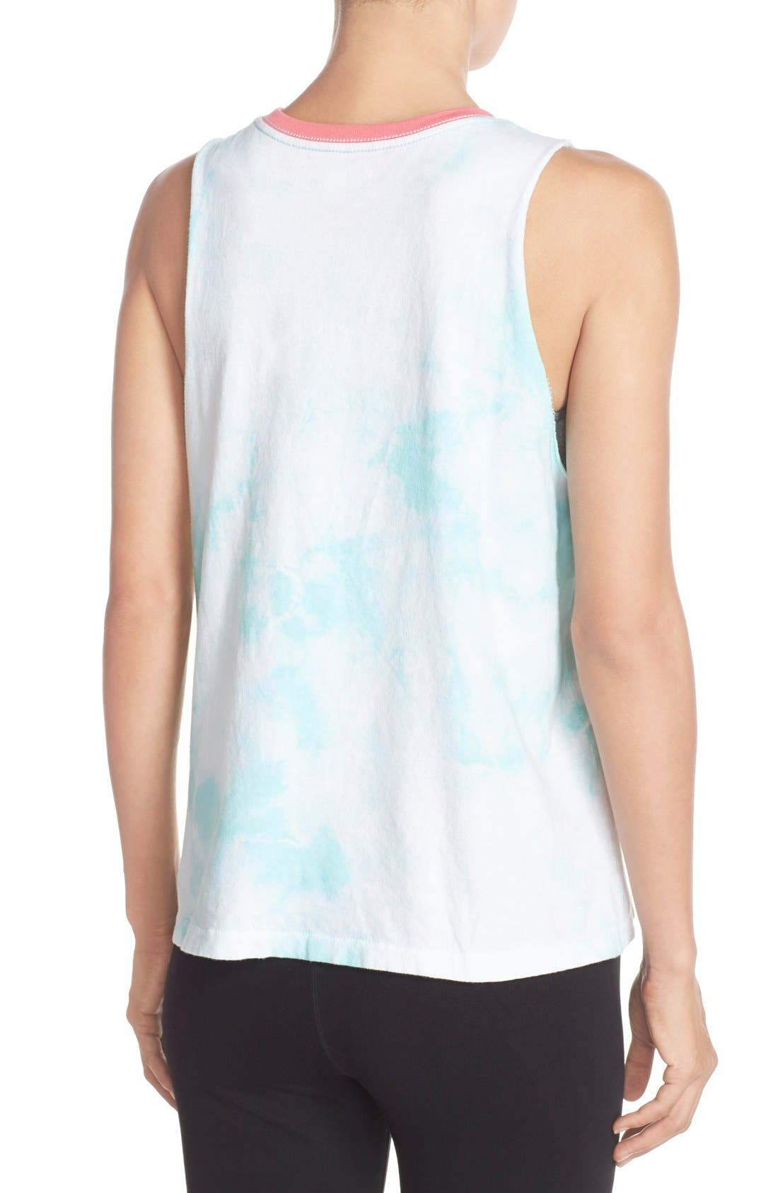 'Good Vibes All Day' Muscle Tee,                             Alternate thumbnail 2, color,                             Skywash
