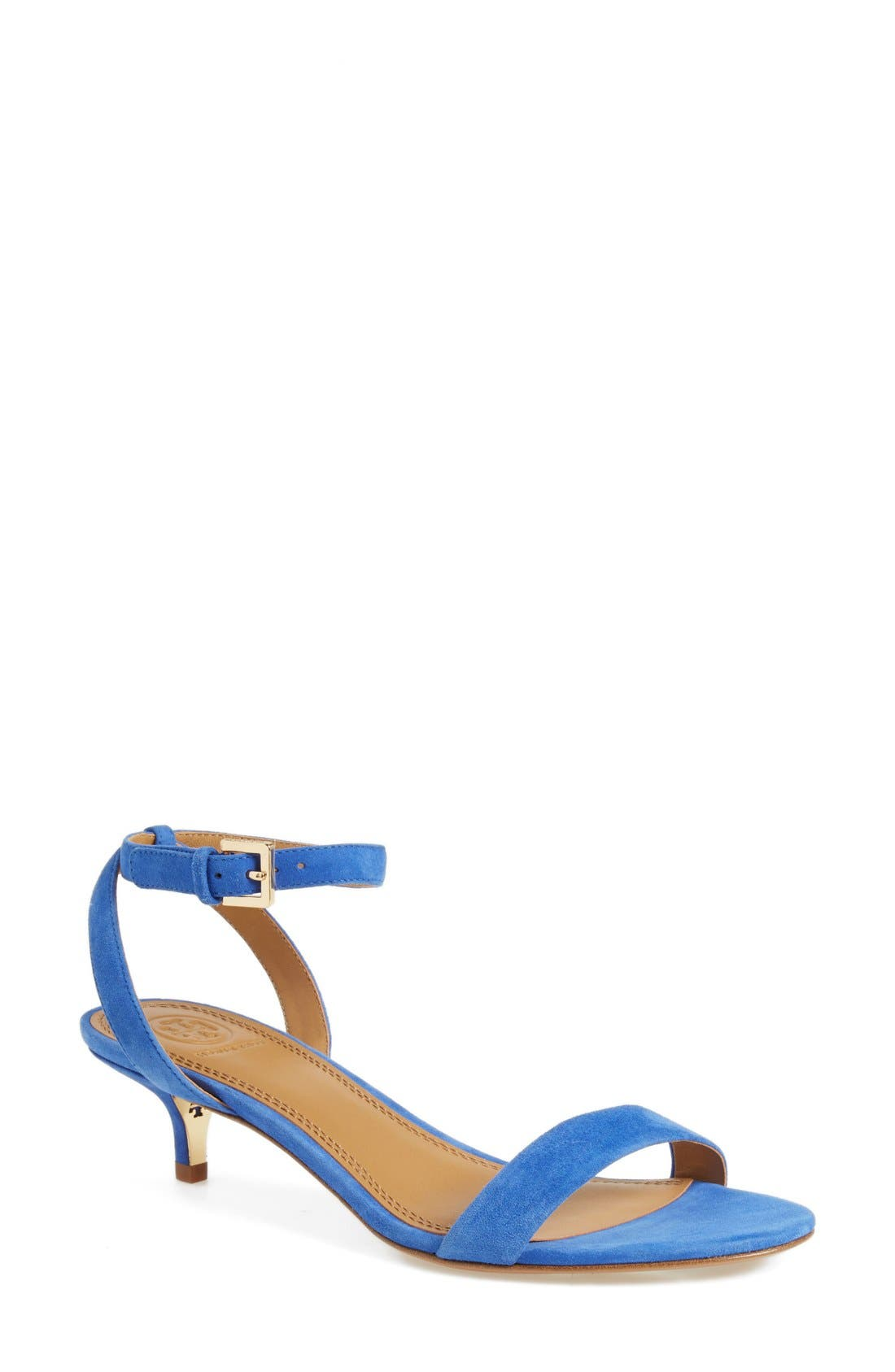 'Elana' Ankle Strap Sandal,                             Main thumbnail 1, color,                             Jelly Blue Suede