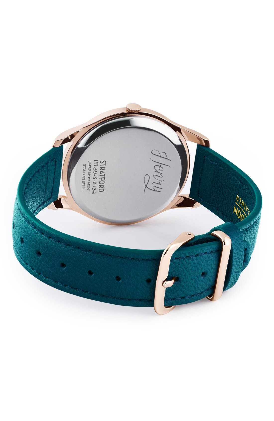 'Stratford' Leather Strap Watch, 38mm,                             Alternate thumbnail 2, color,                             Teal/ Teal