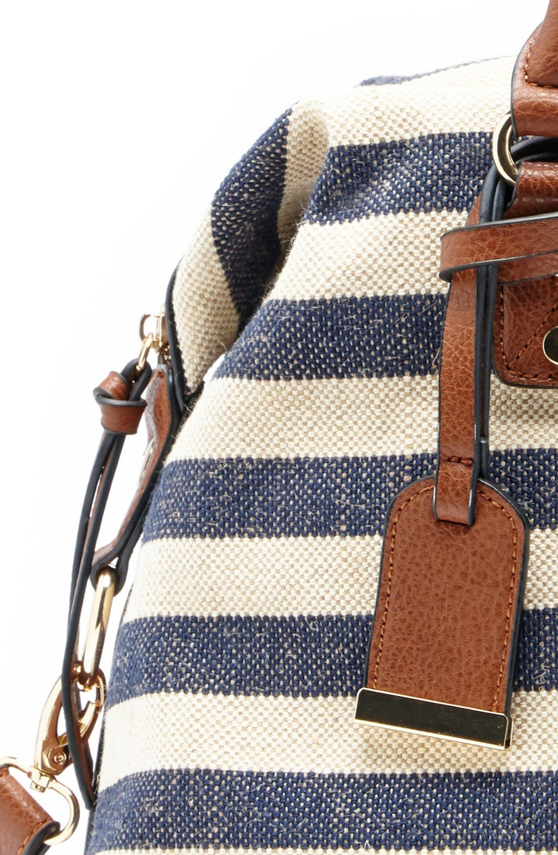 'Leighton' Stripe Duffel Bag,                             Alternate thumbnail 5, color,                             Navy/ Cream