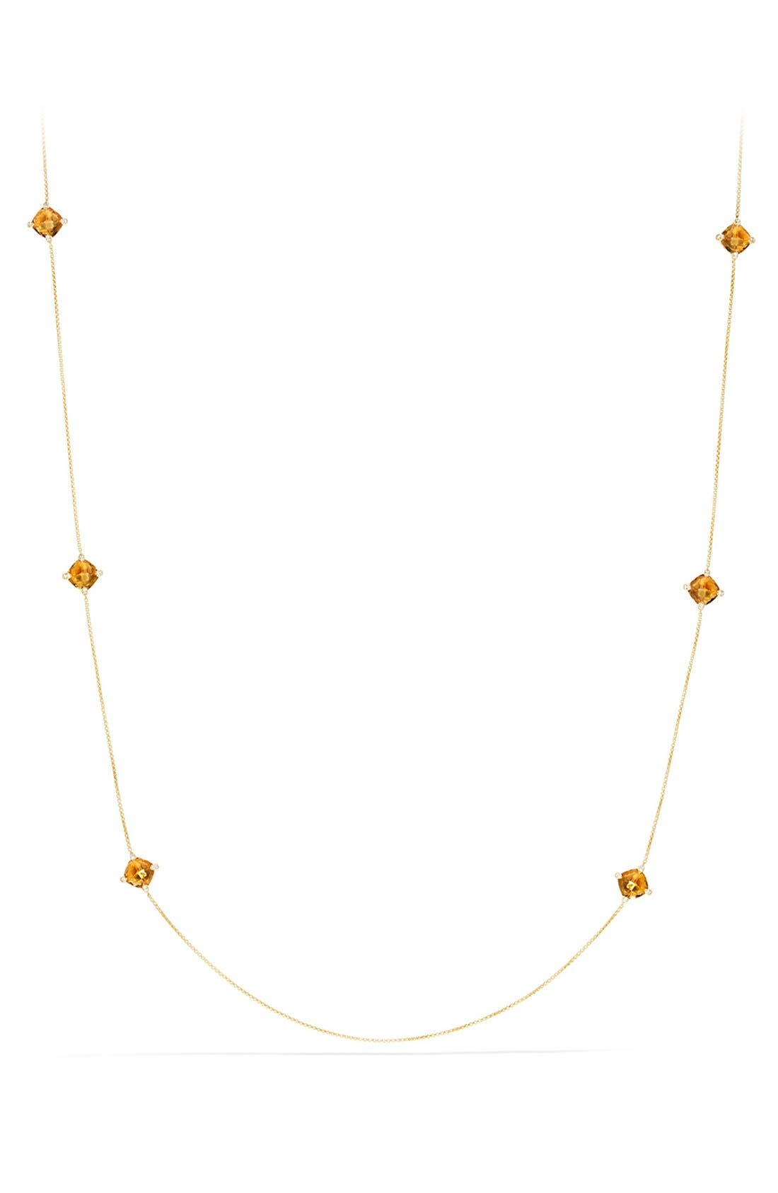 'Châtelaine' Long Semiprecious Stone Necklace with Diamonds,                             Main thumbnail 1, color,                             Citrine