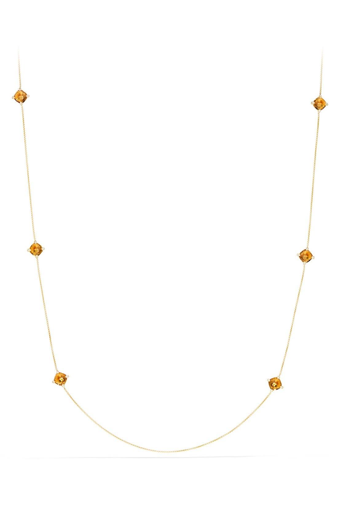 'Châtelaine' Long Semiprecious Stone Necklace with Diamonds,                         Main,                         color, Citrine