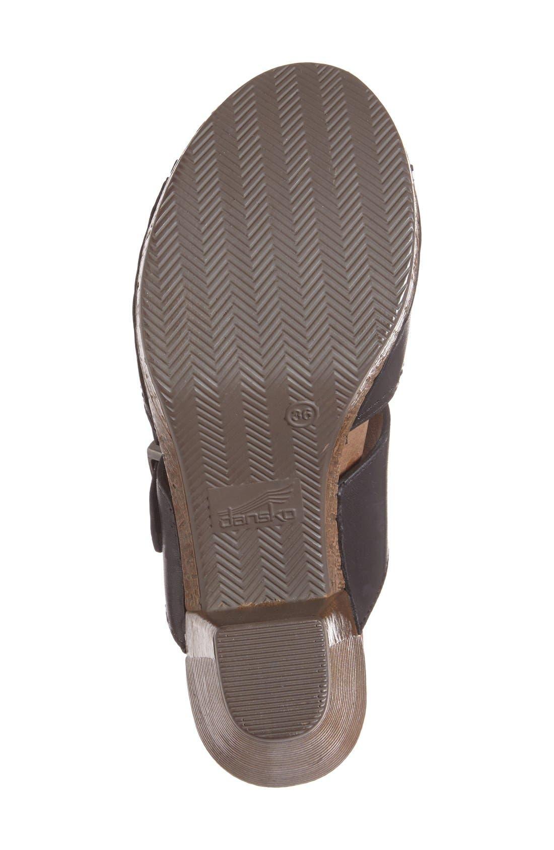 'Ramona' Sandal,                             Alternate thumbnail 4, color,                             Black Leather