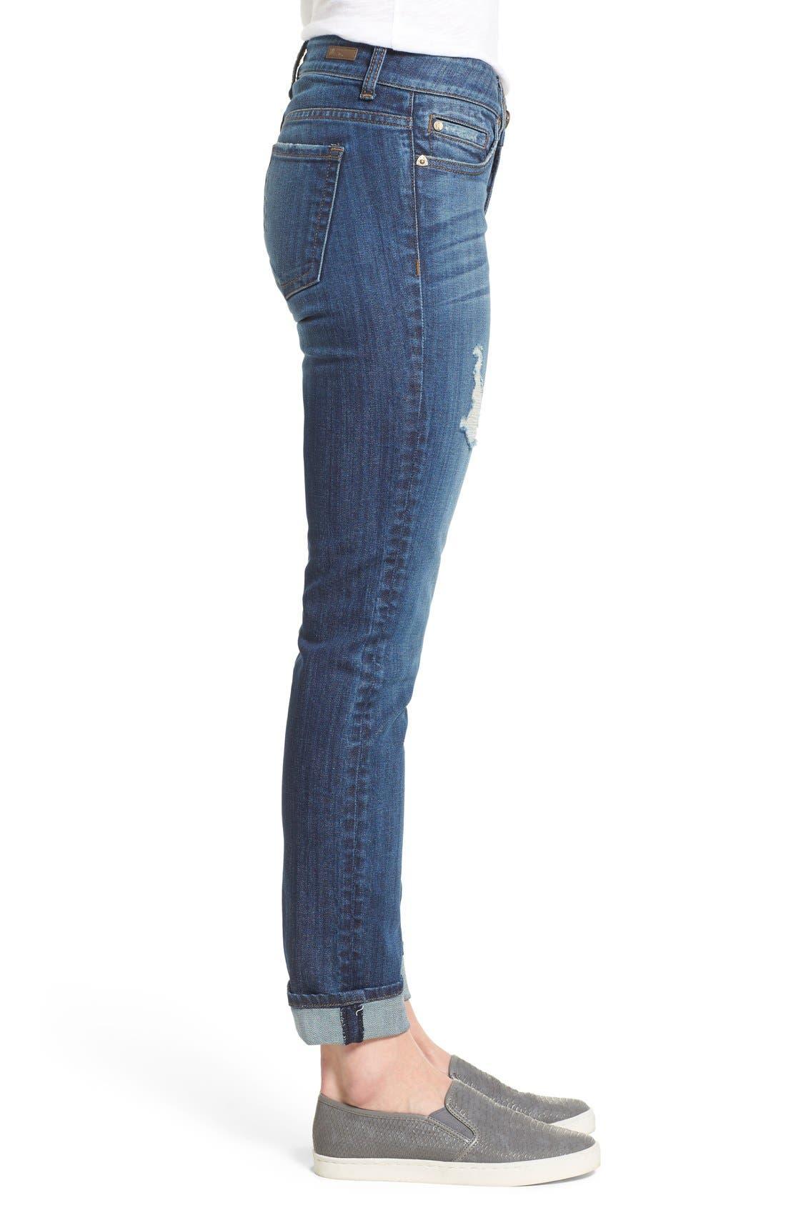 Alternate Image 3  - KUT from the Kloth 'Catherine' Distressed Stretch Boyfriend Jeans (Yearn) (Regular & Petite)
