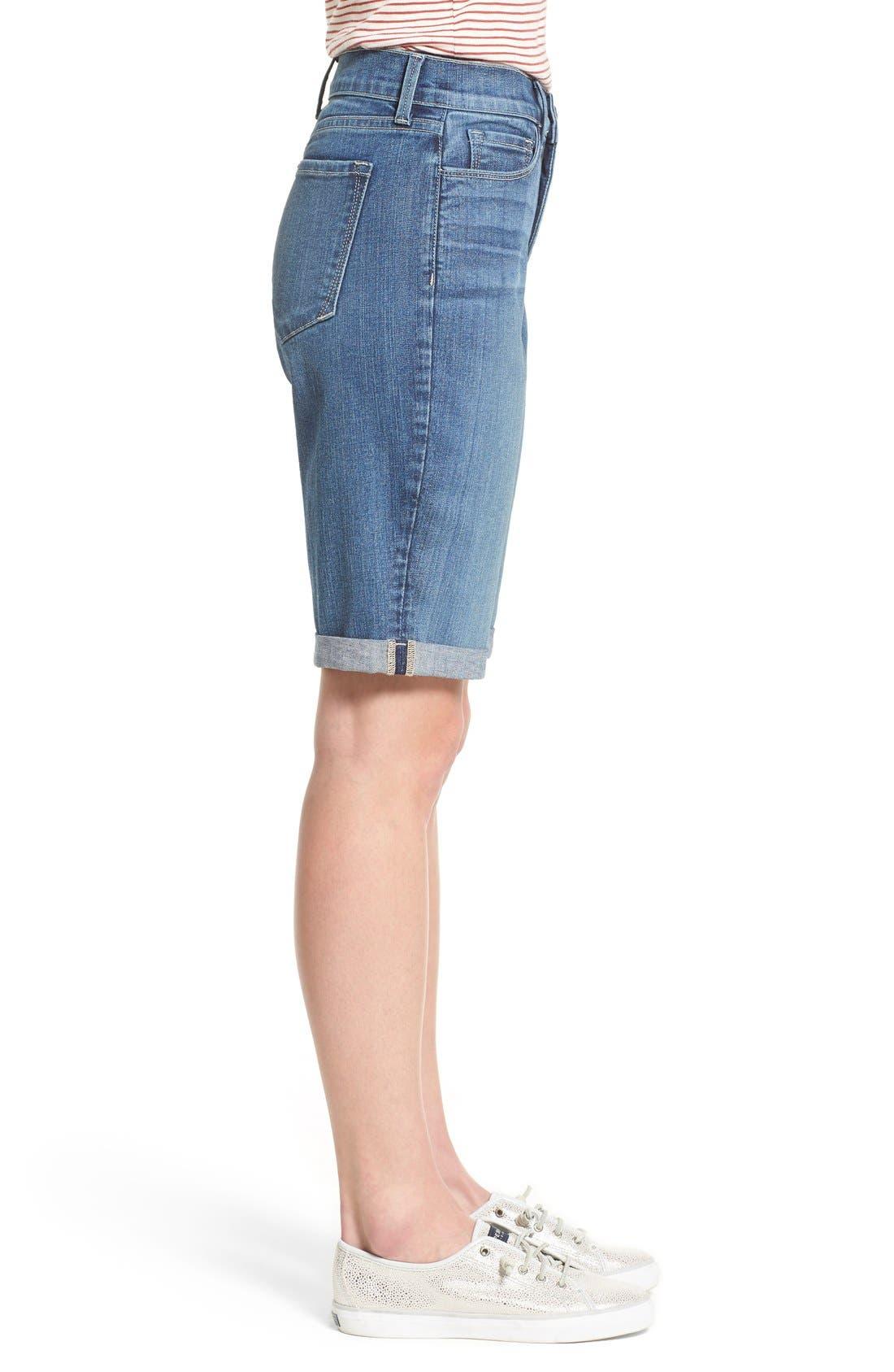 Briella Roll Cuff Stretch Denim Shorts,                             Alternate thumbnail 3, color,                             Heyburn