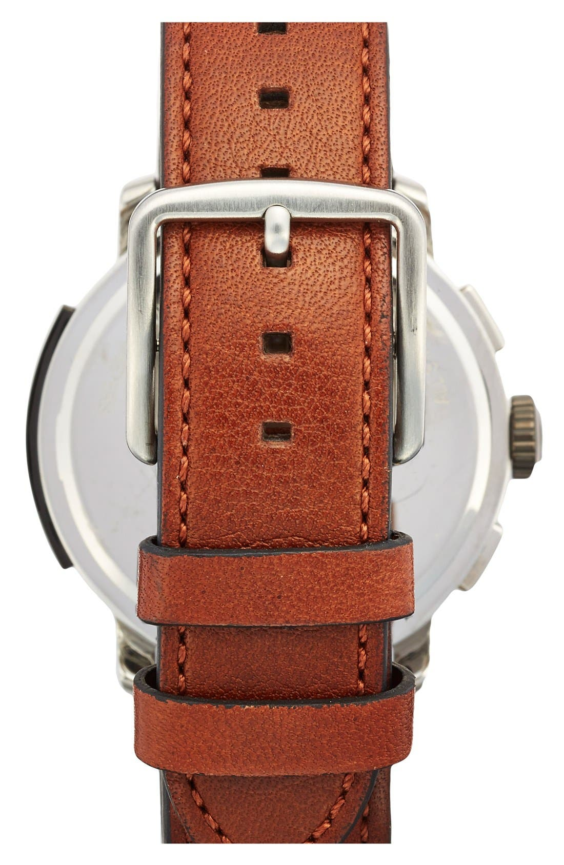 'Bleecker' Chronograph Leather Strap Watch, 44mm,                             Alternate thumbnail 2, color,                             Brown/ Navy