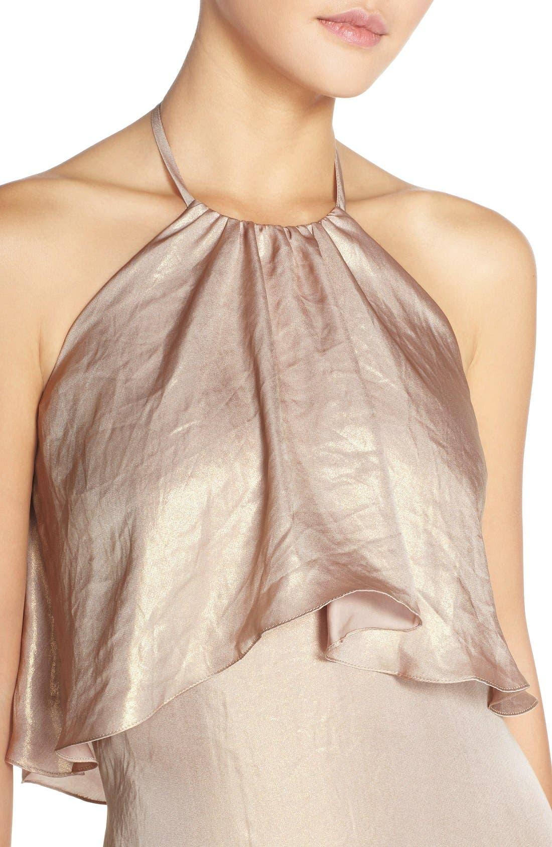 'Lilith' Ruffle Bib Liquid Chiffon Halter Gown,                             Alternate thumbnail 4, color,                             Rose Gold