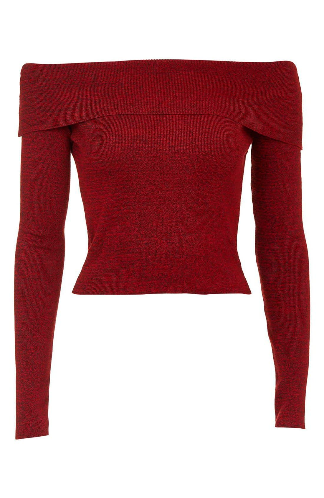 Alternate Image 4  - Topshop Off the Shoulder Long Sleeve Top