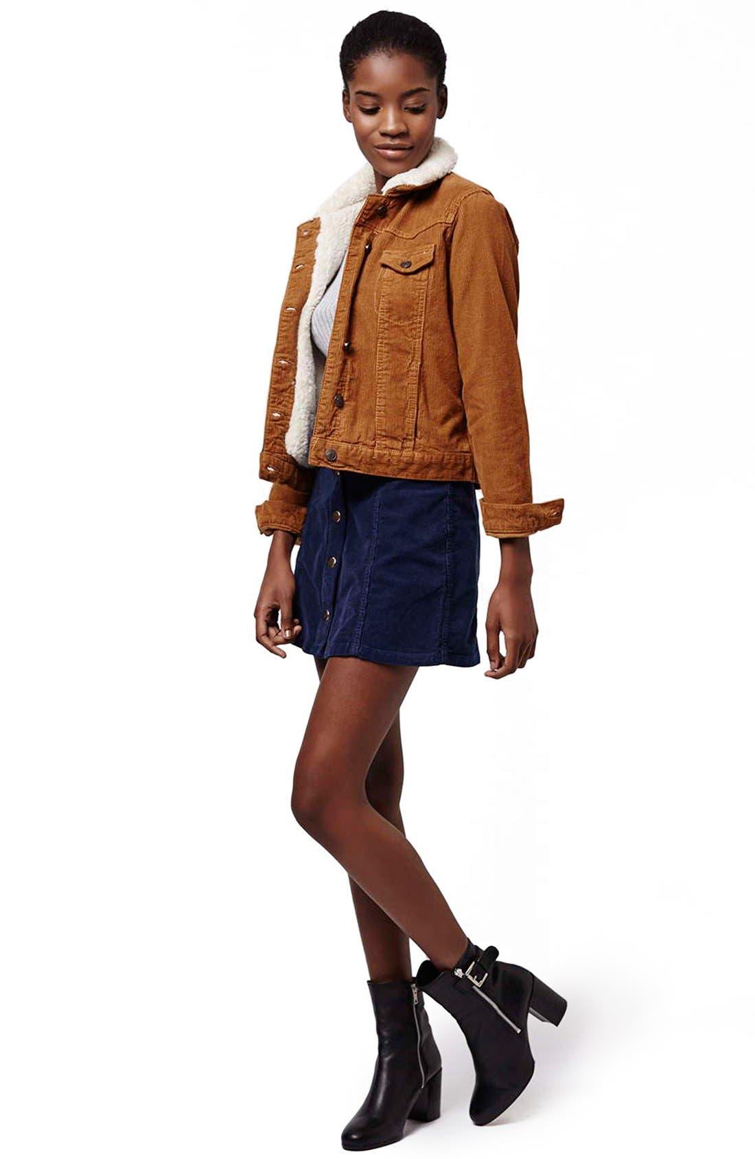 Alternate Image 2  - Topshop A-Line Corduroy Skirt