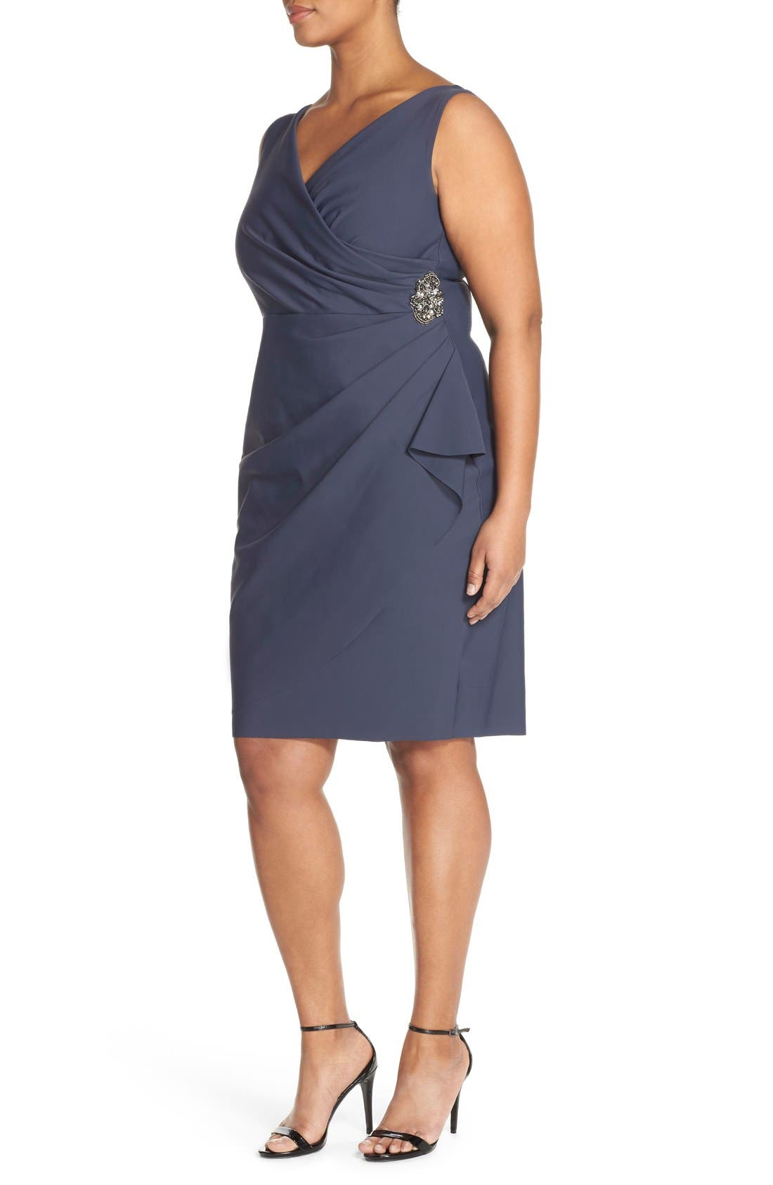 Embellished Surplice Sheath Dress,                             Alternate thumbnail 3, color,                             Charcoal