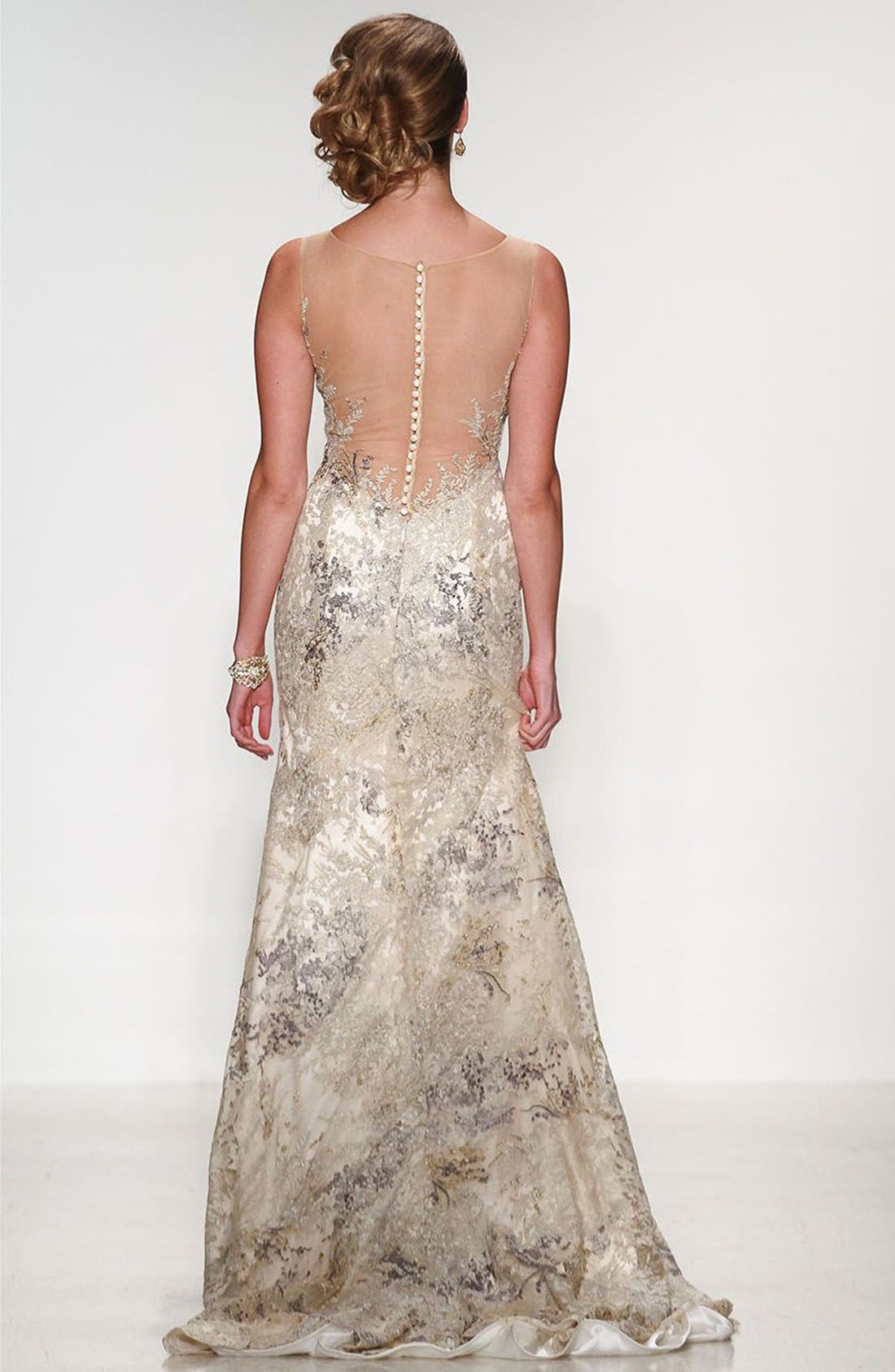 Alternate Image 2  - Matthew Christopher Thyme Sleeveless Illusion Embroidered Lace Gown