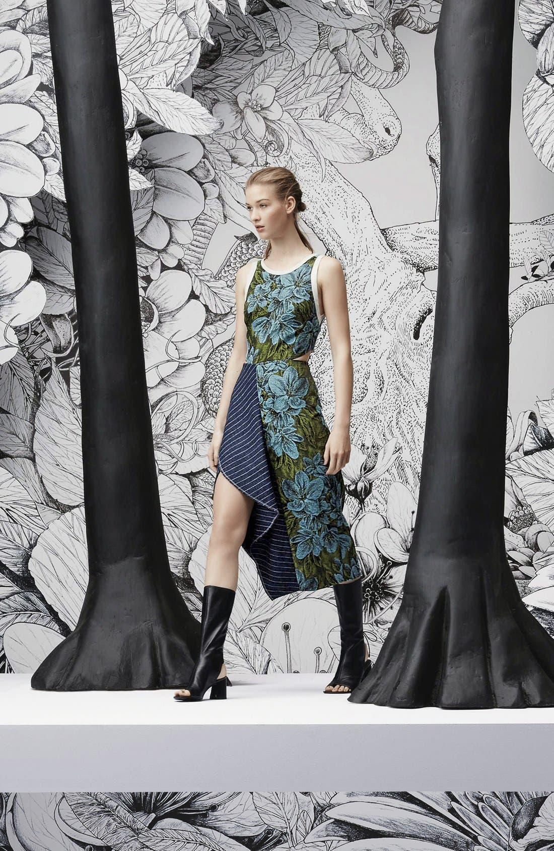 Side Cutout Ruffle Floral Jacquard Dress,                             Alternate thumbnail 6, color,